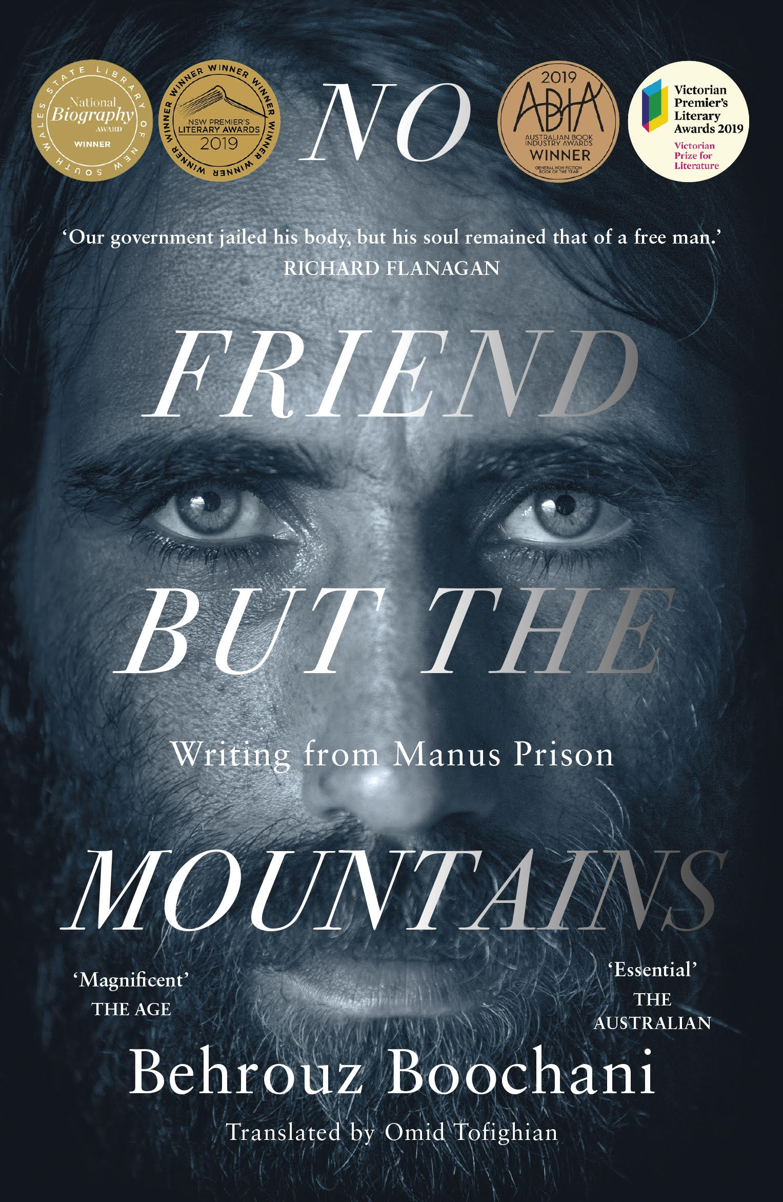 cover image of the book, no friend but the mountains. Author's face.