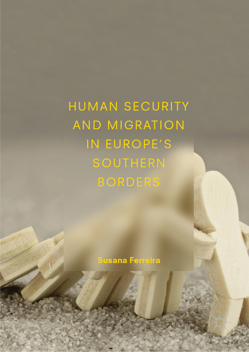 image of dominos shaped as people falling over, book cover for Human Security and Migration in Europe's Southern Borders