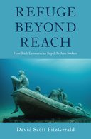 cover image of the book, Refuge beyond reach, a sunken boat with seemingly frozen people in it