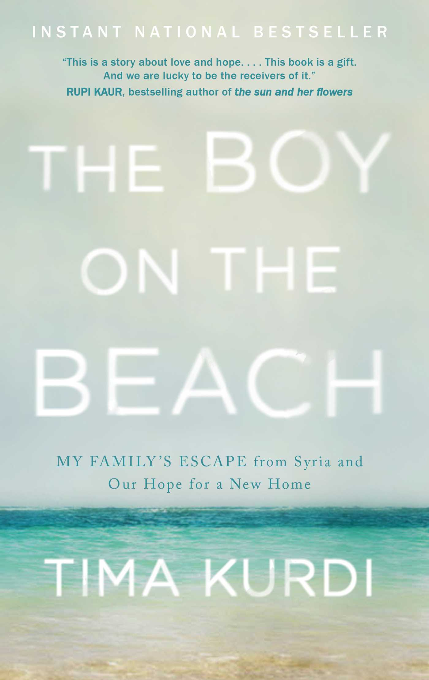 cover image of the book, the boy on the beach, showing sky, water and sand