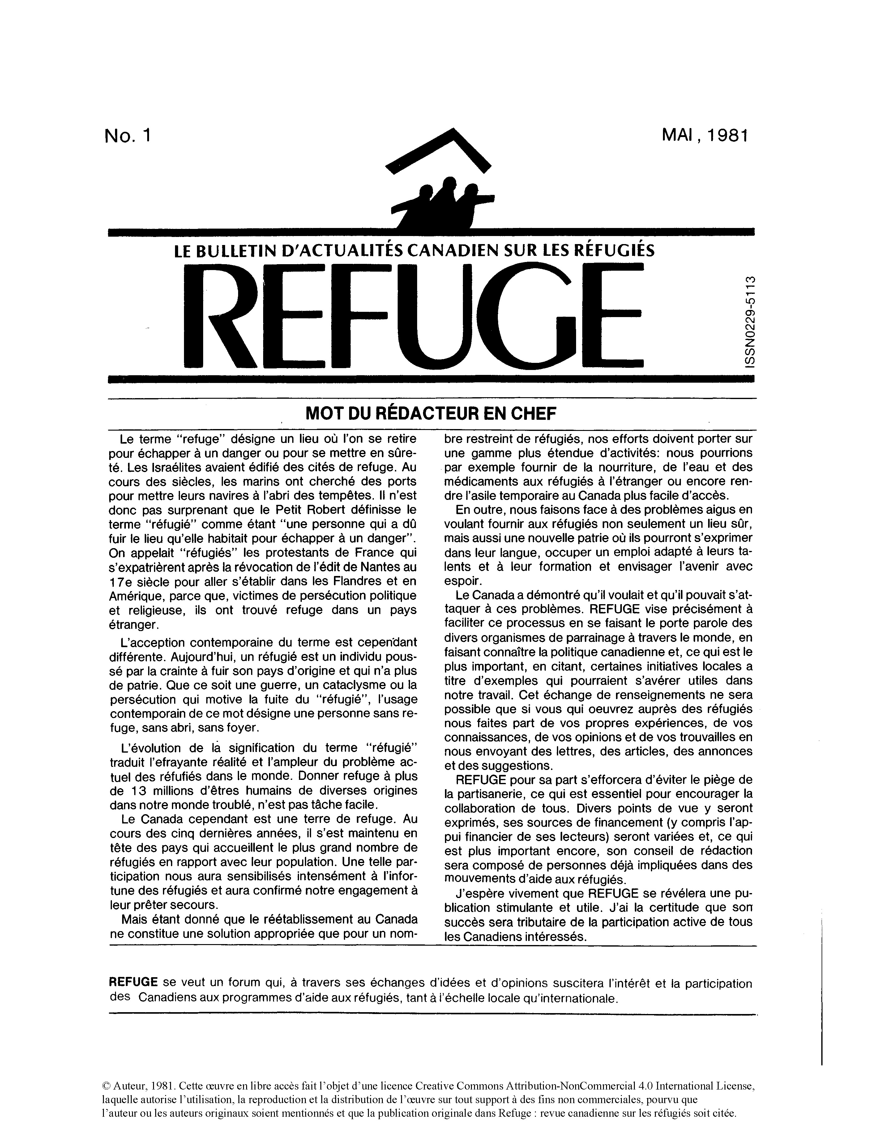 first page Refuge 1.1 1981