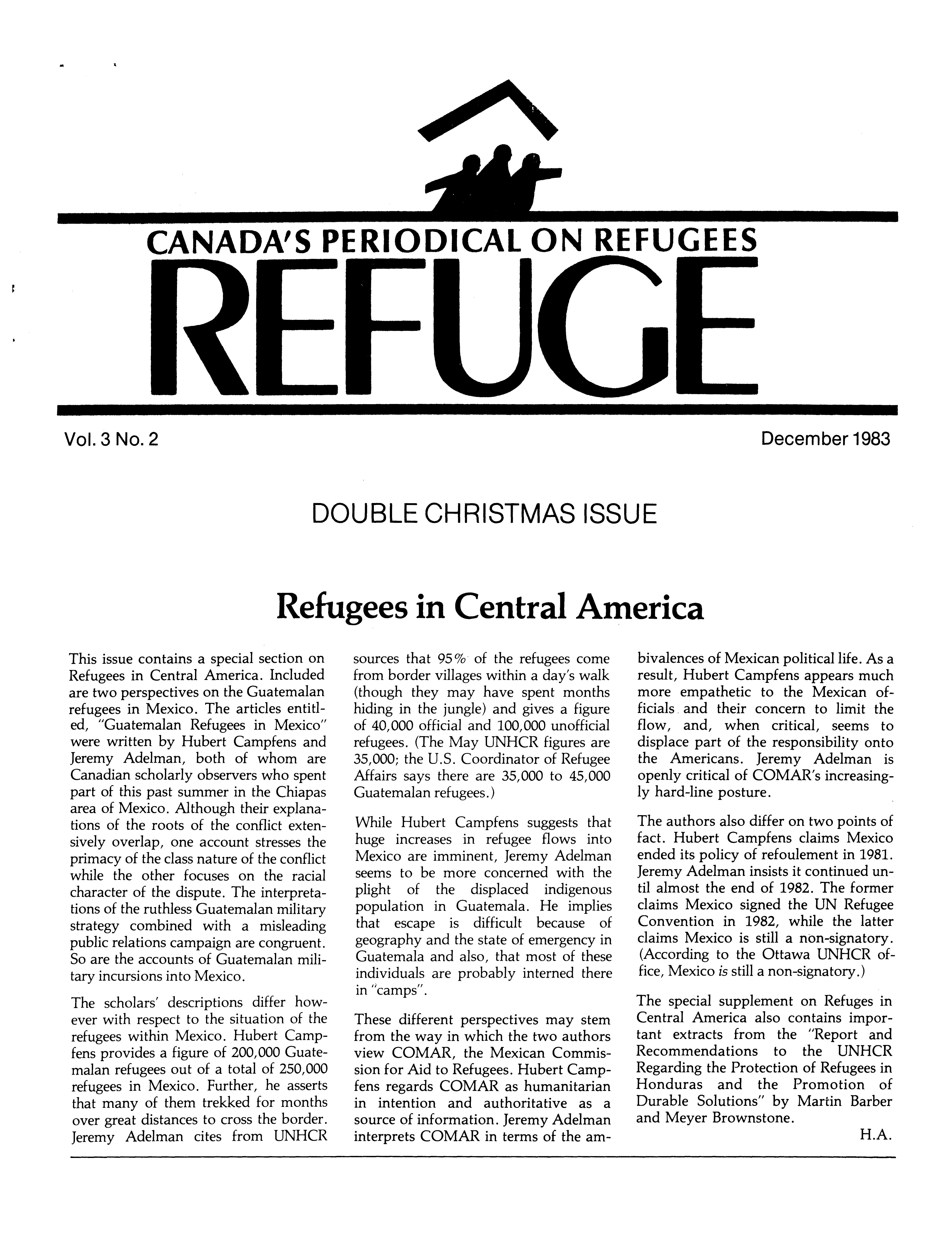 first page Refuge vol. 3.2 1983