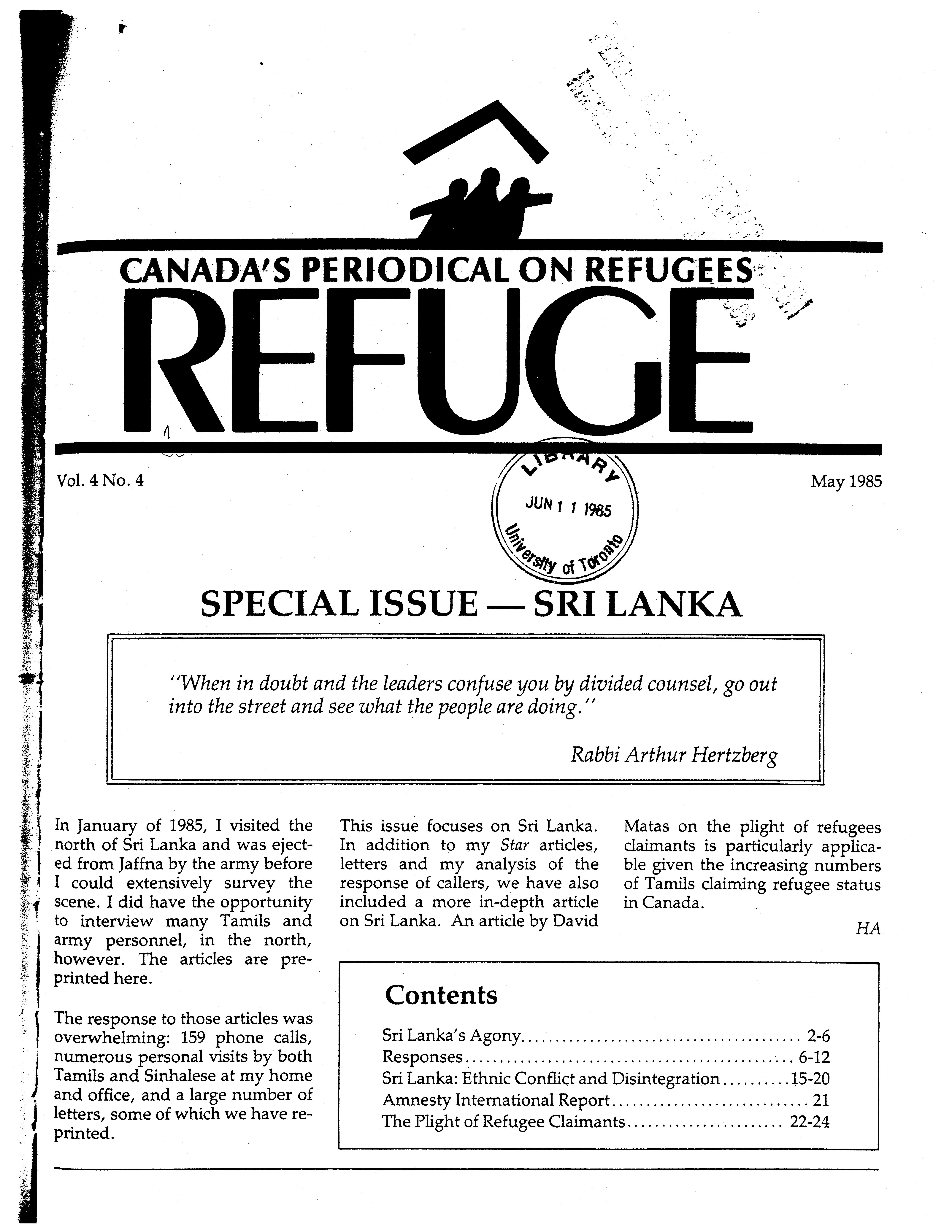 first page Refuge vol. 4.4 1985