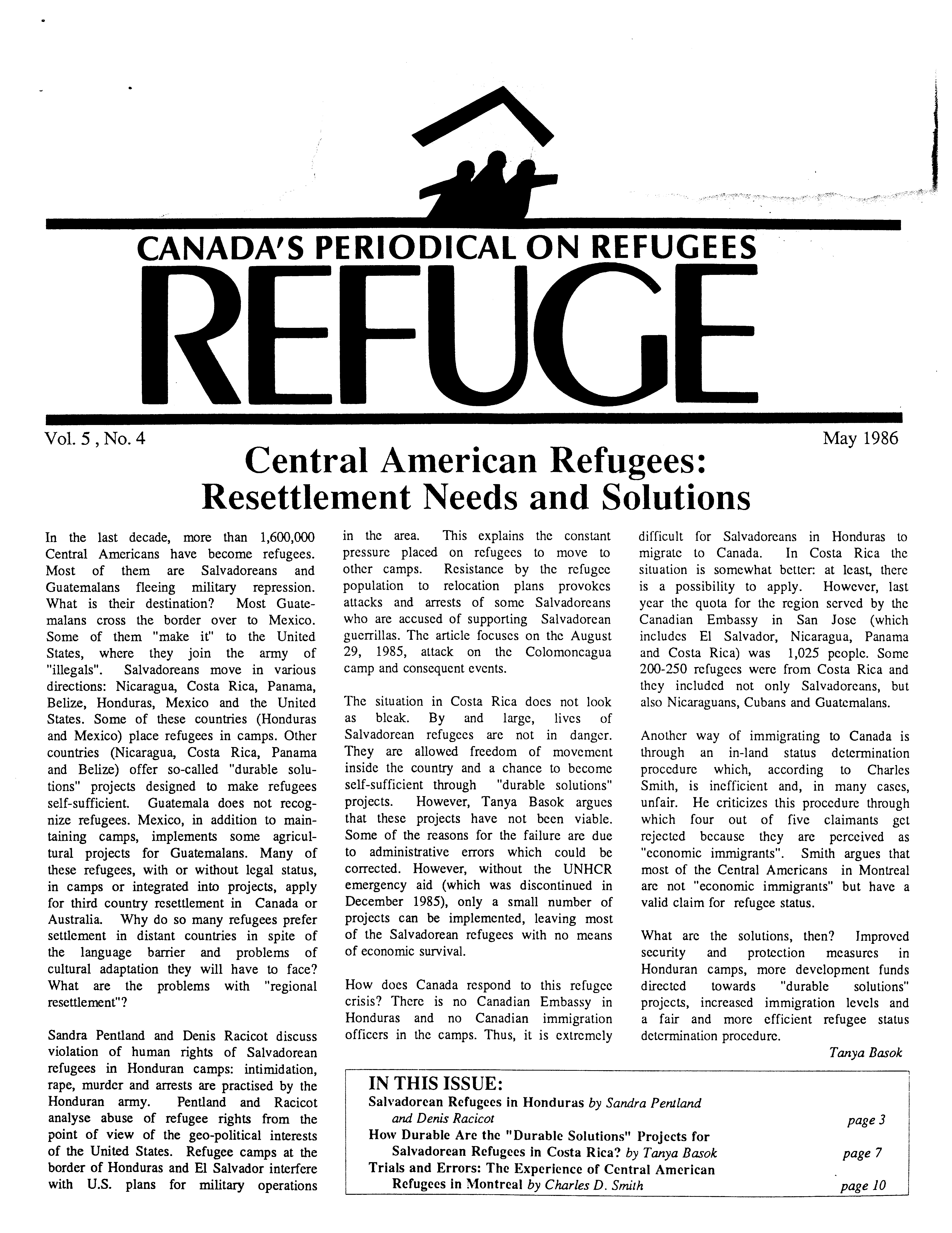 first page Refuge vol. 5.4 1986