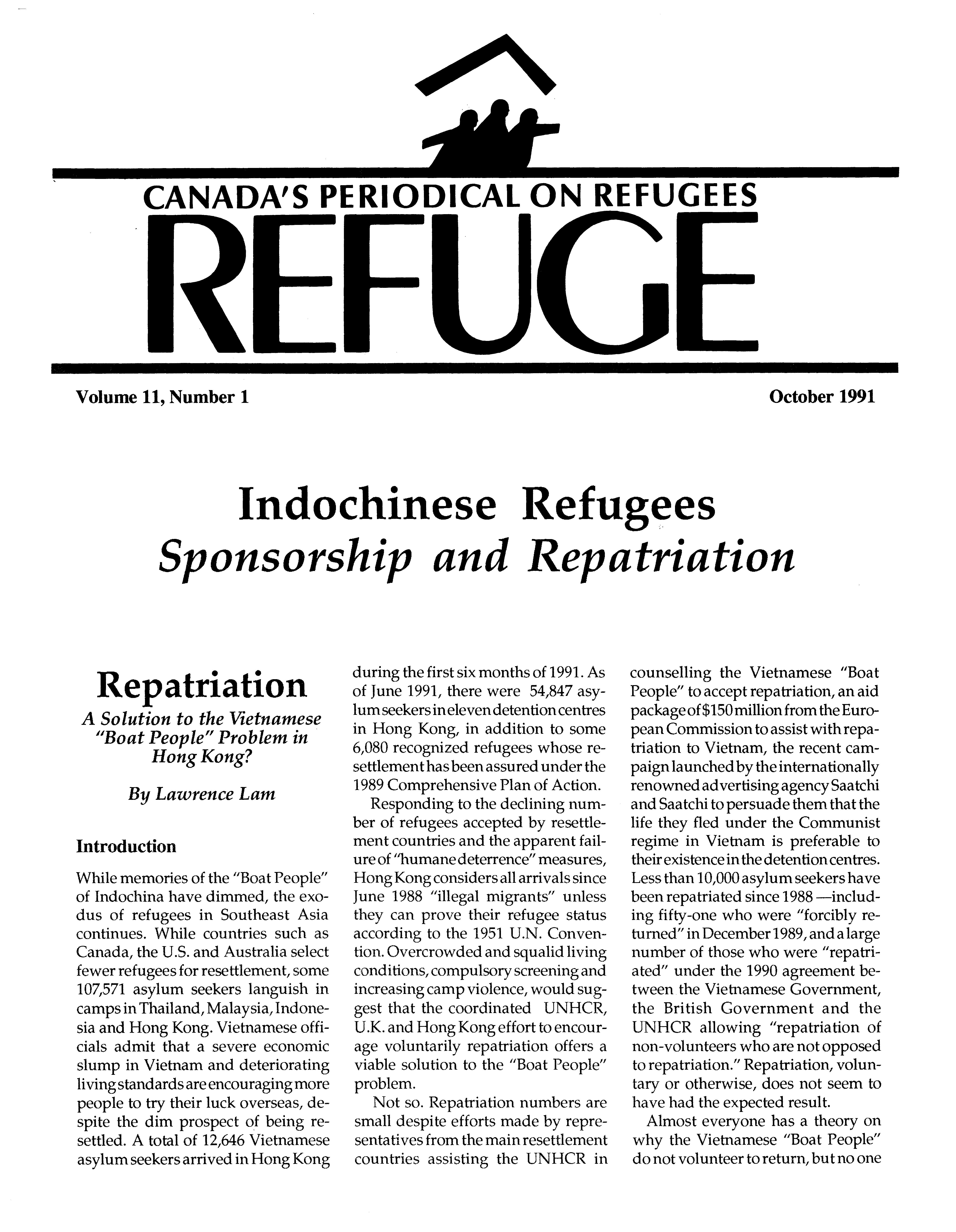 first page Refuge vol. 11.1 1991