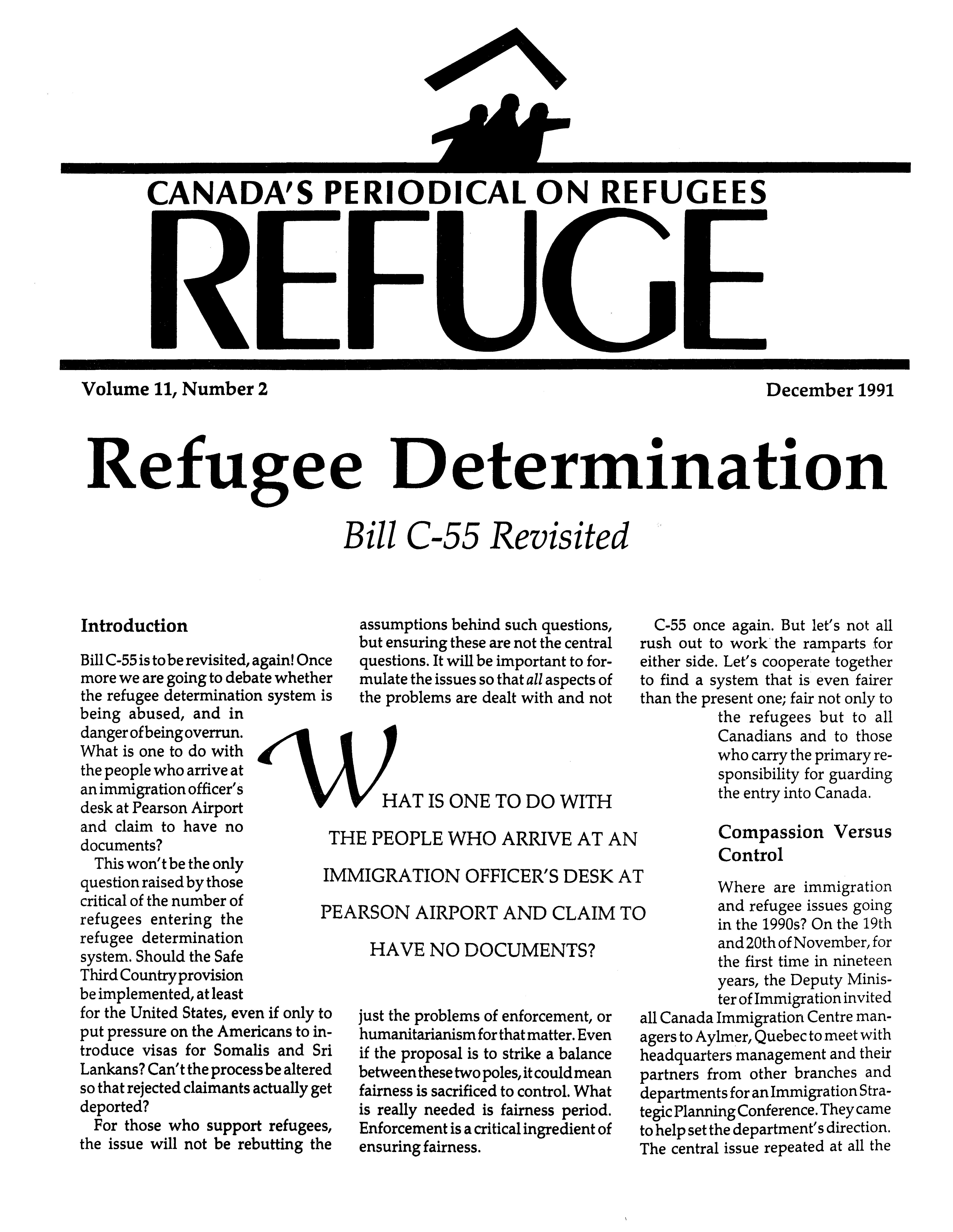 first page Refuge vol. 11.2 1991