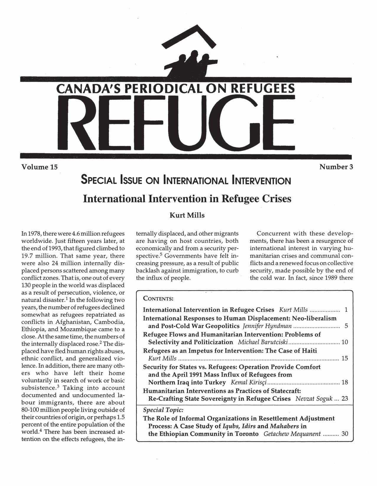first page Refuge vol. 15.3 1996