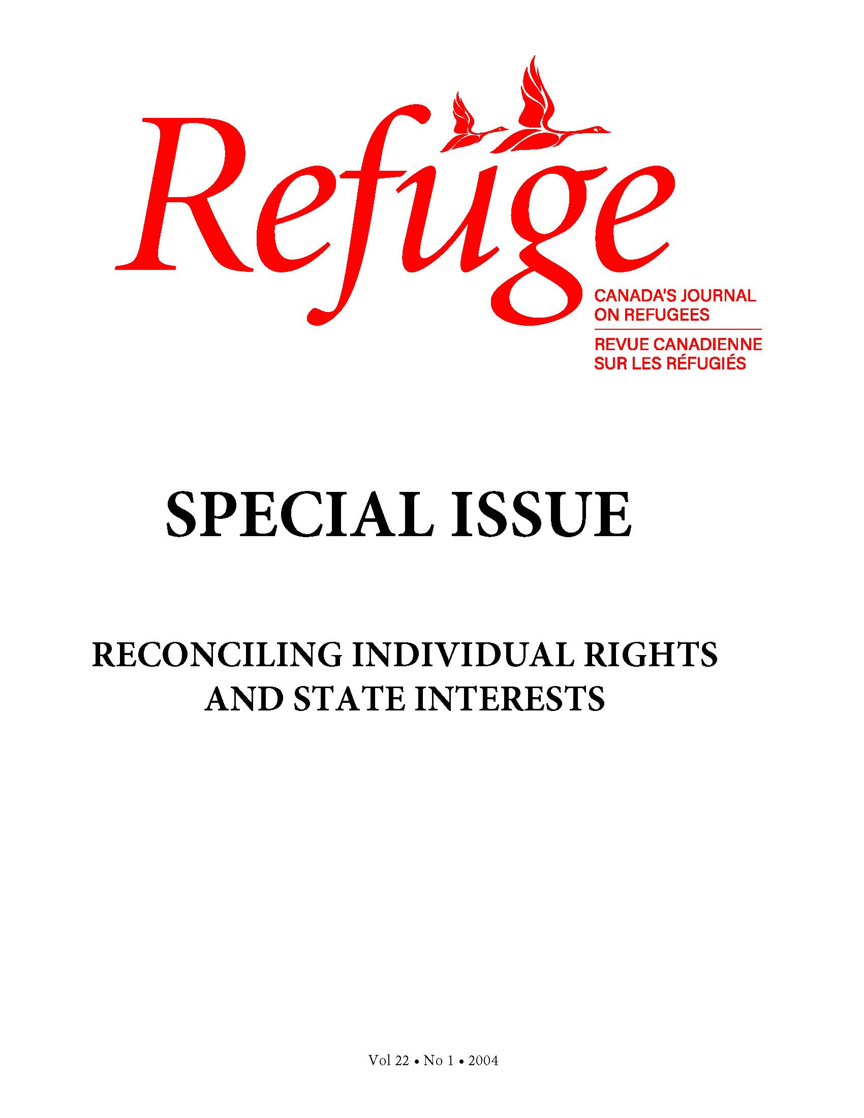 cover Refuge vol. 22.1 2004