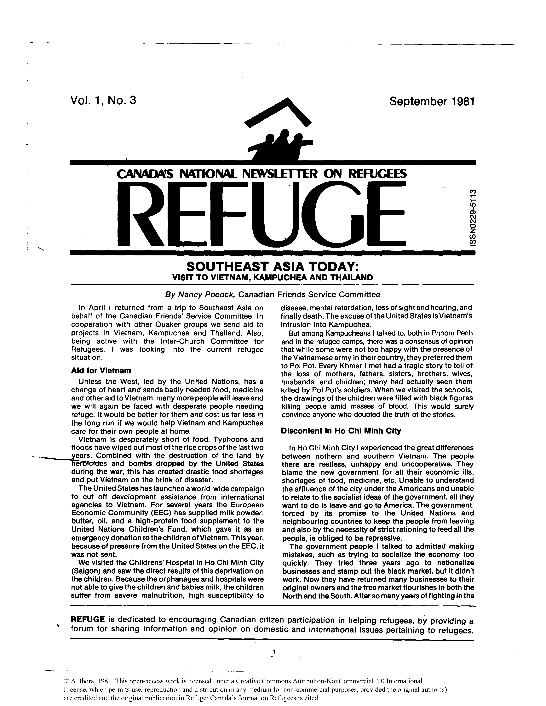 first page Refuge vol. 1.3 1981