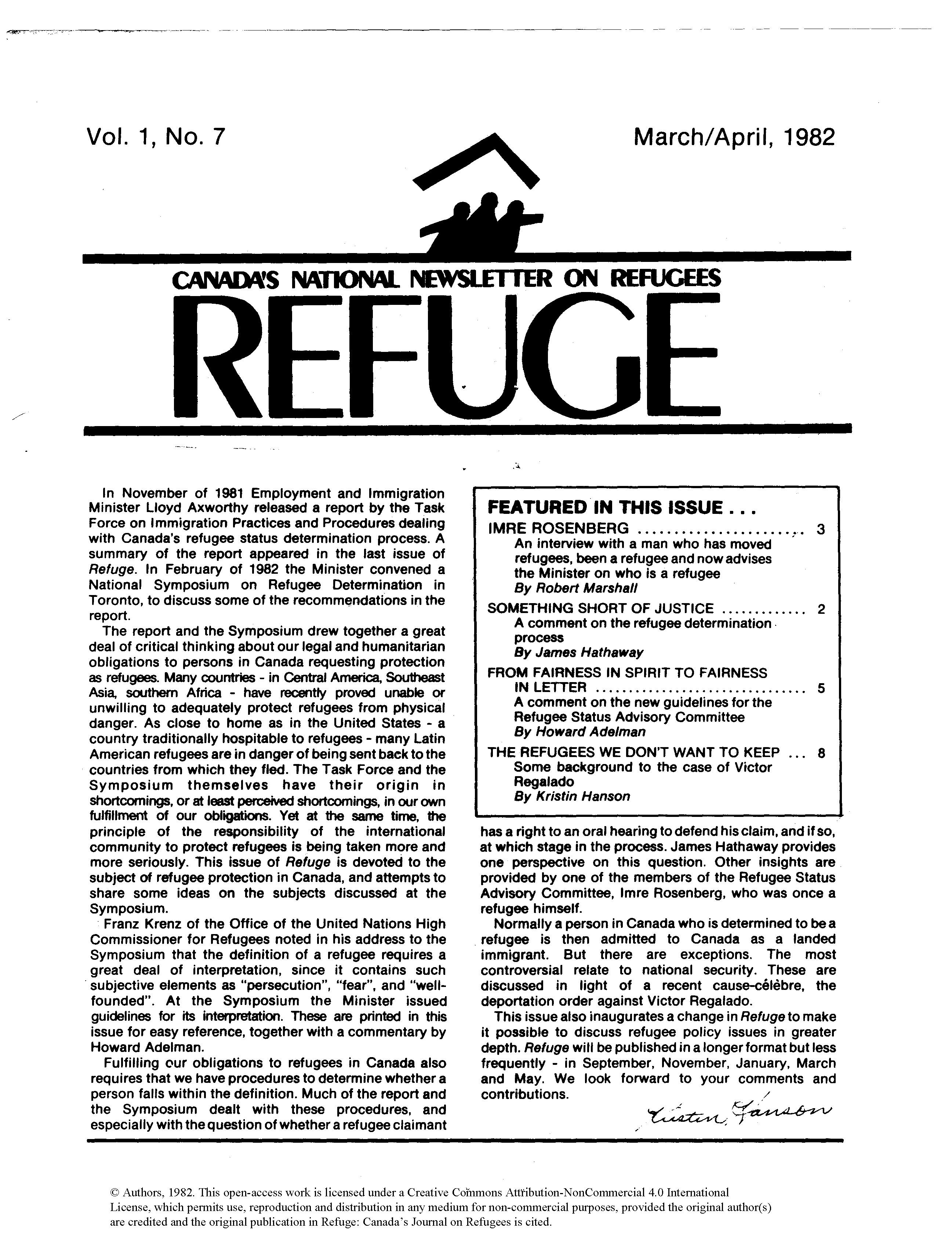 first page Refuge vol. 1.7 1982