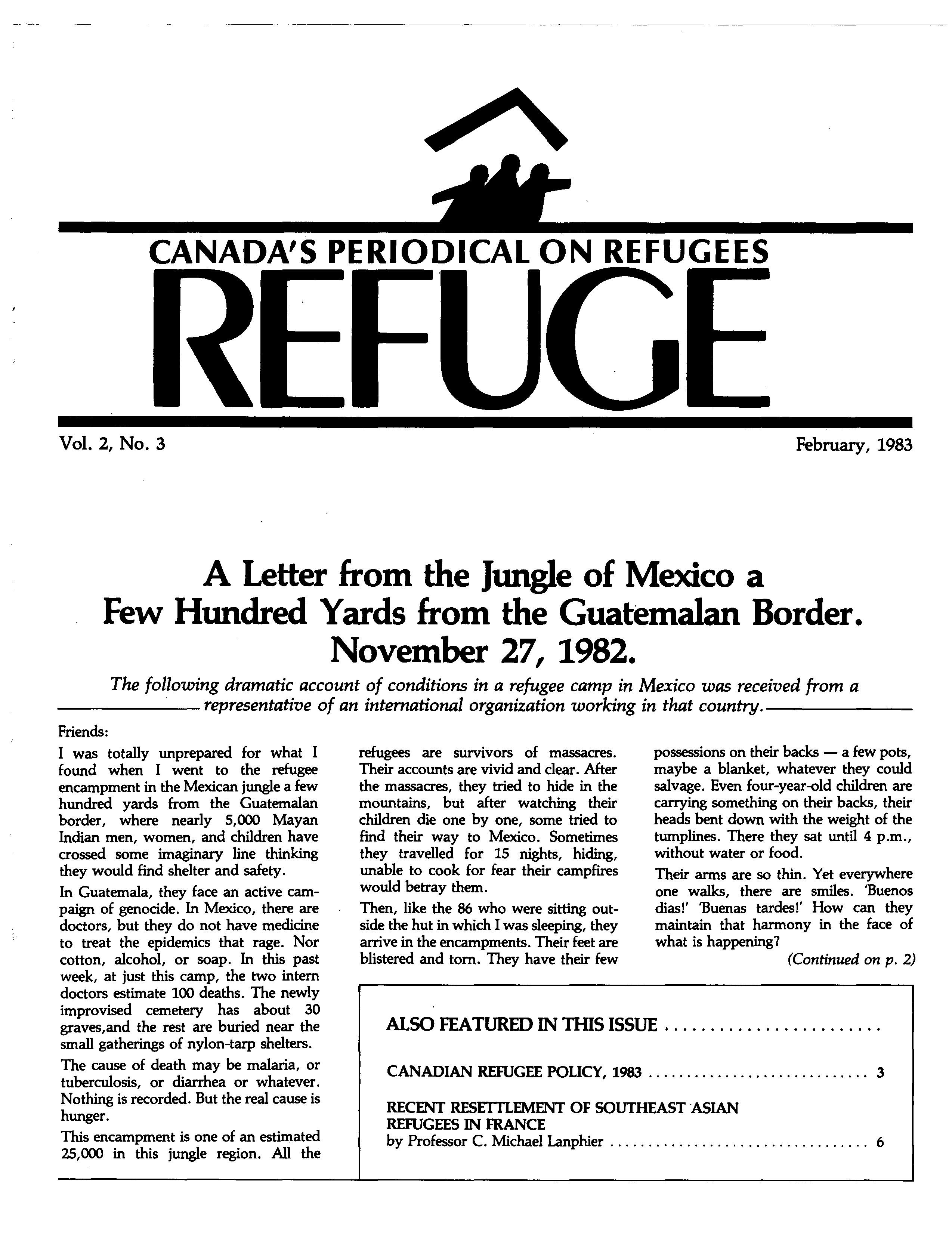 first page Refuge vol. 2.3 1983