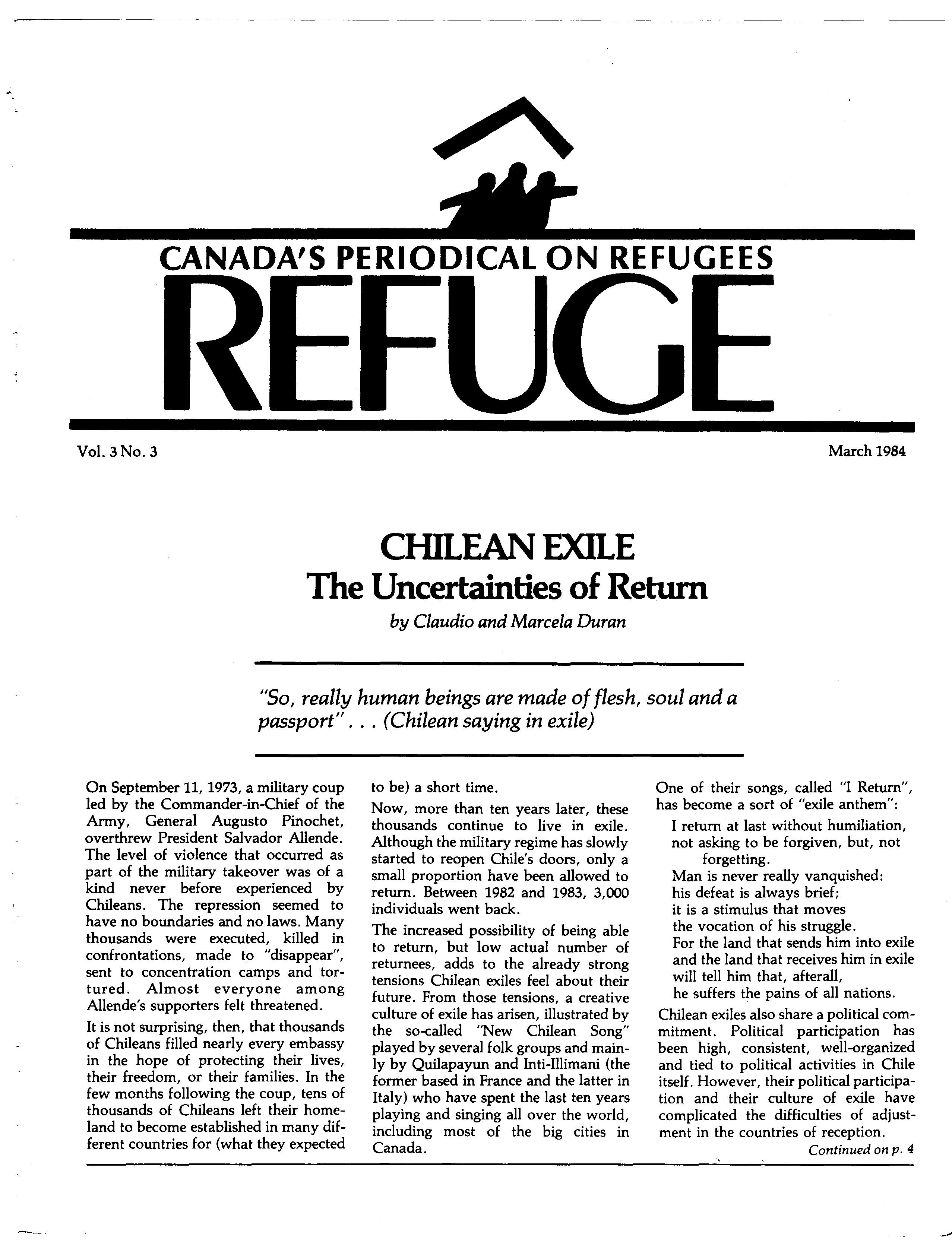 first page Refuge vol. 3.3 1984