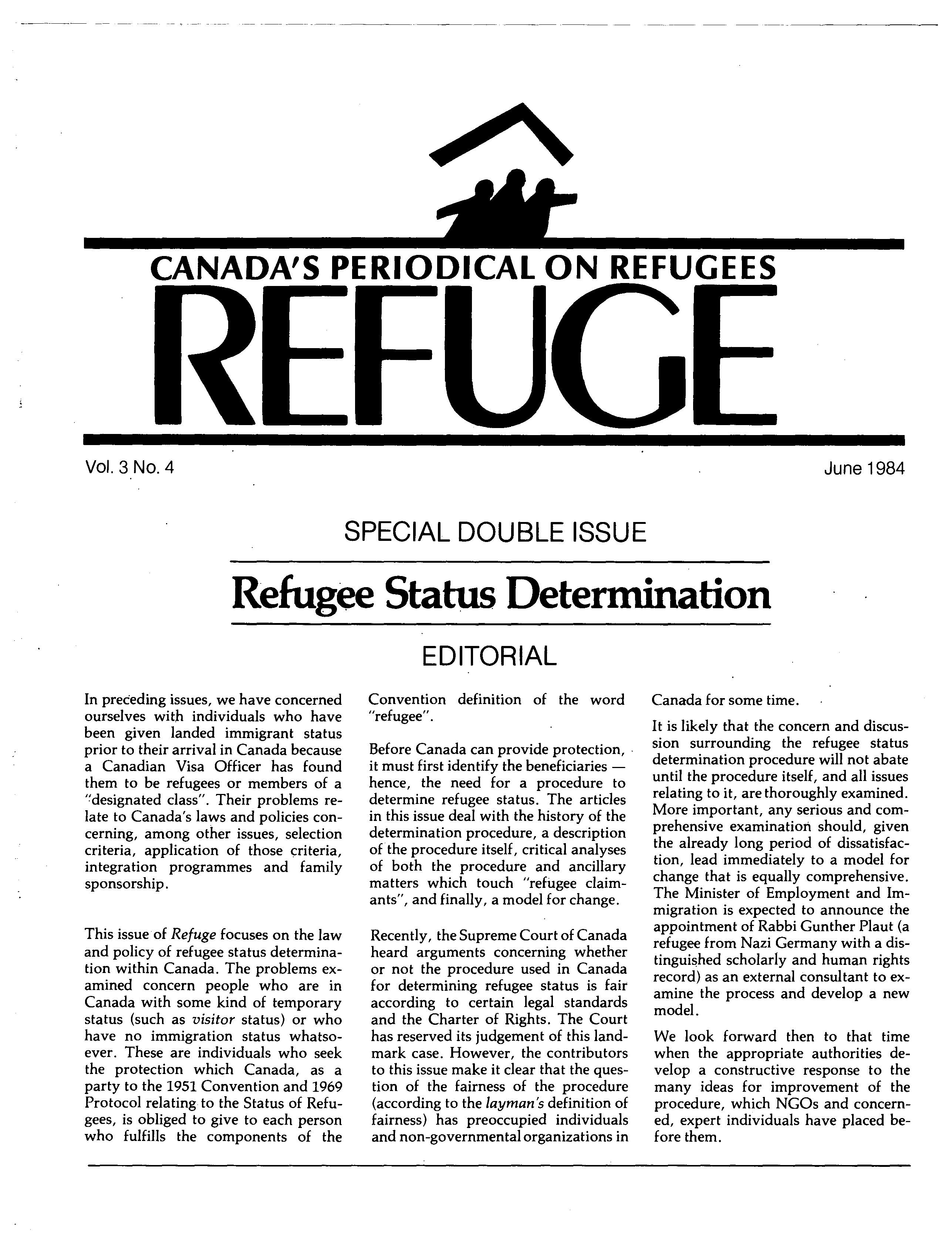 first page Refuge vol. 3.4 1984