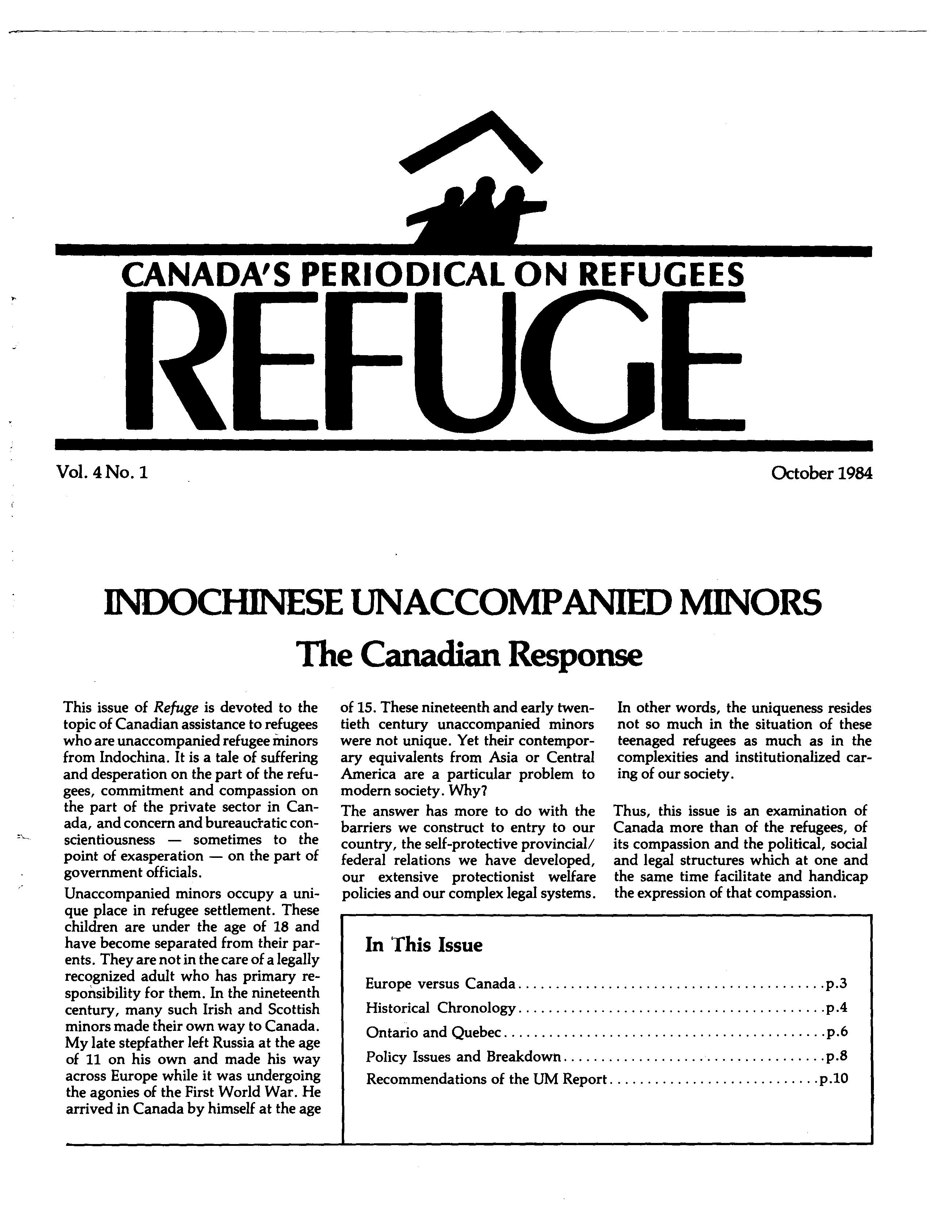 first page Refuge vol. 4.1 1984