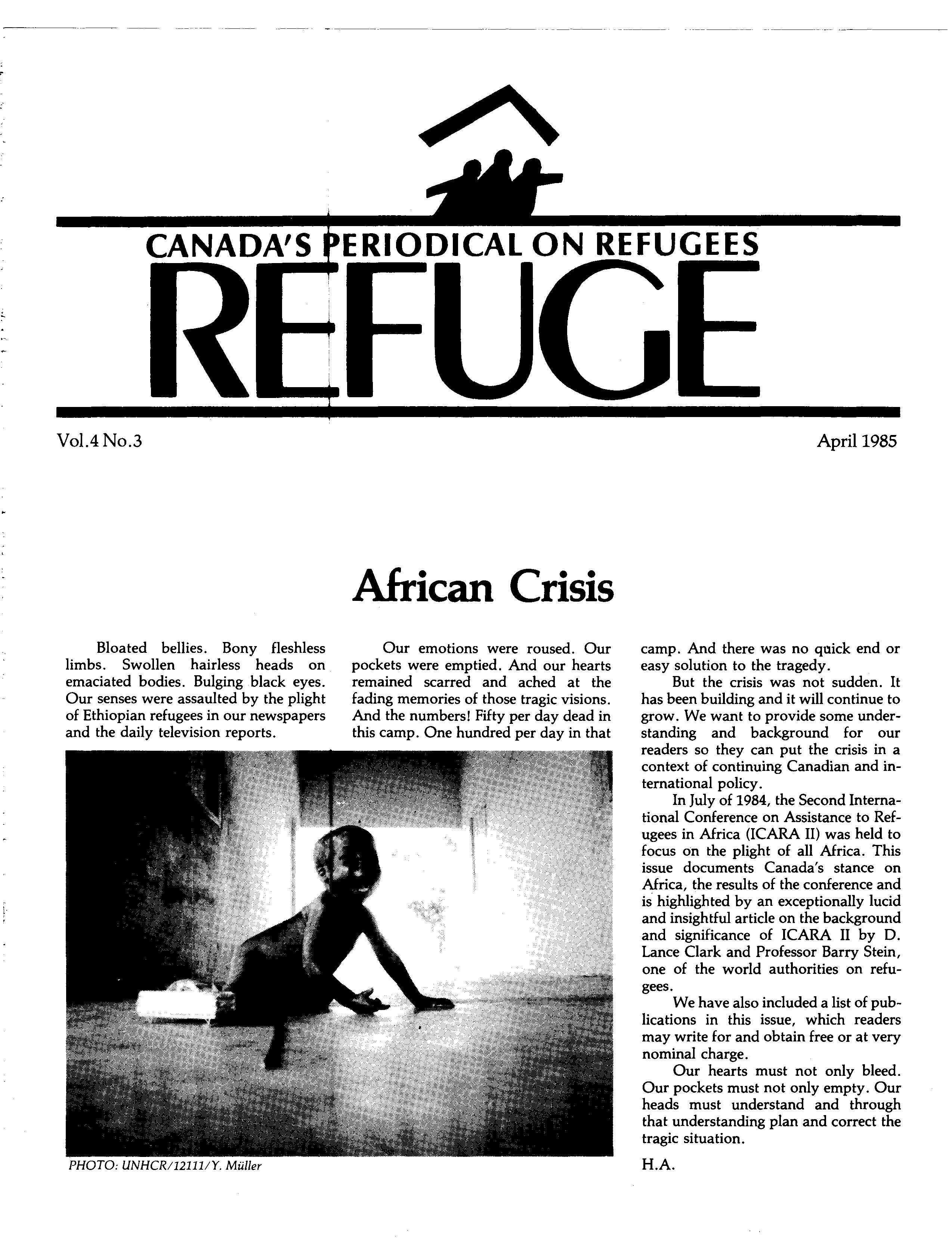first page Refuge vol. 4.3 1985