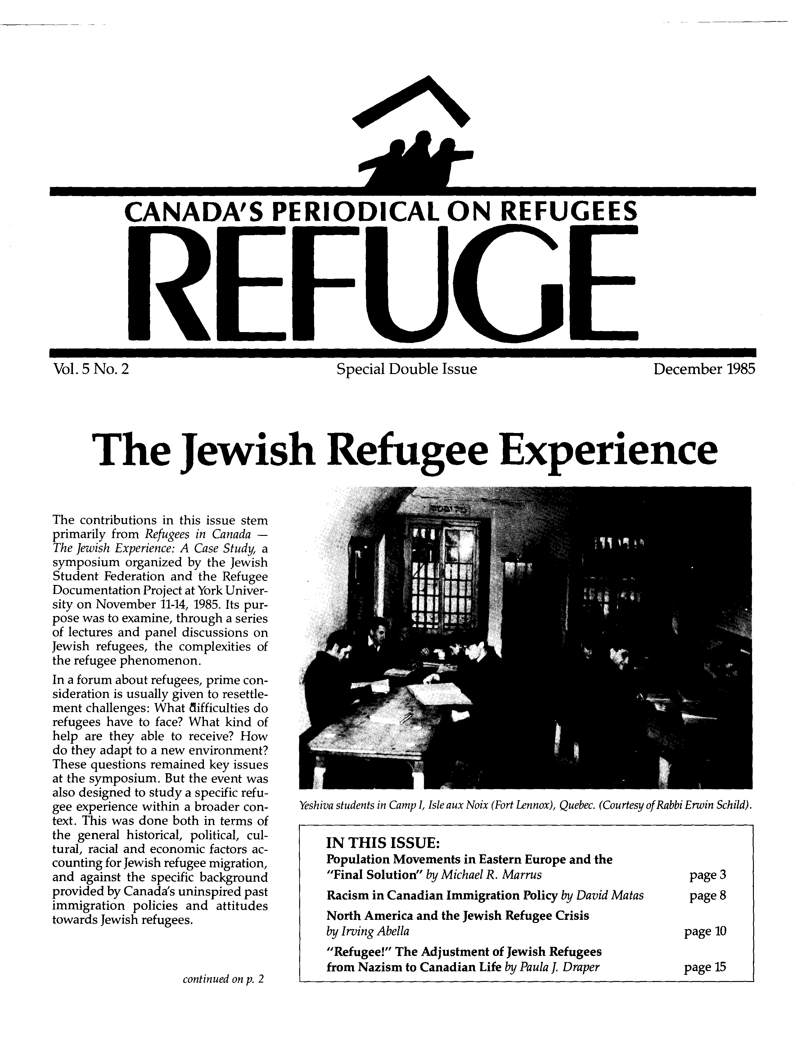 first page Refuge vol. 5.2 1985