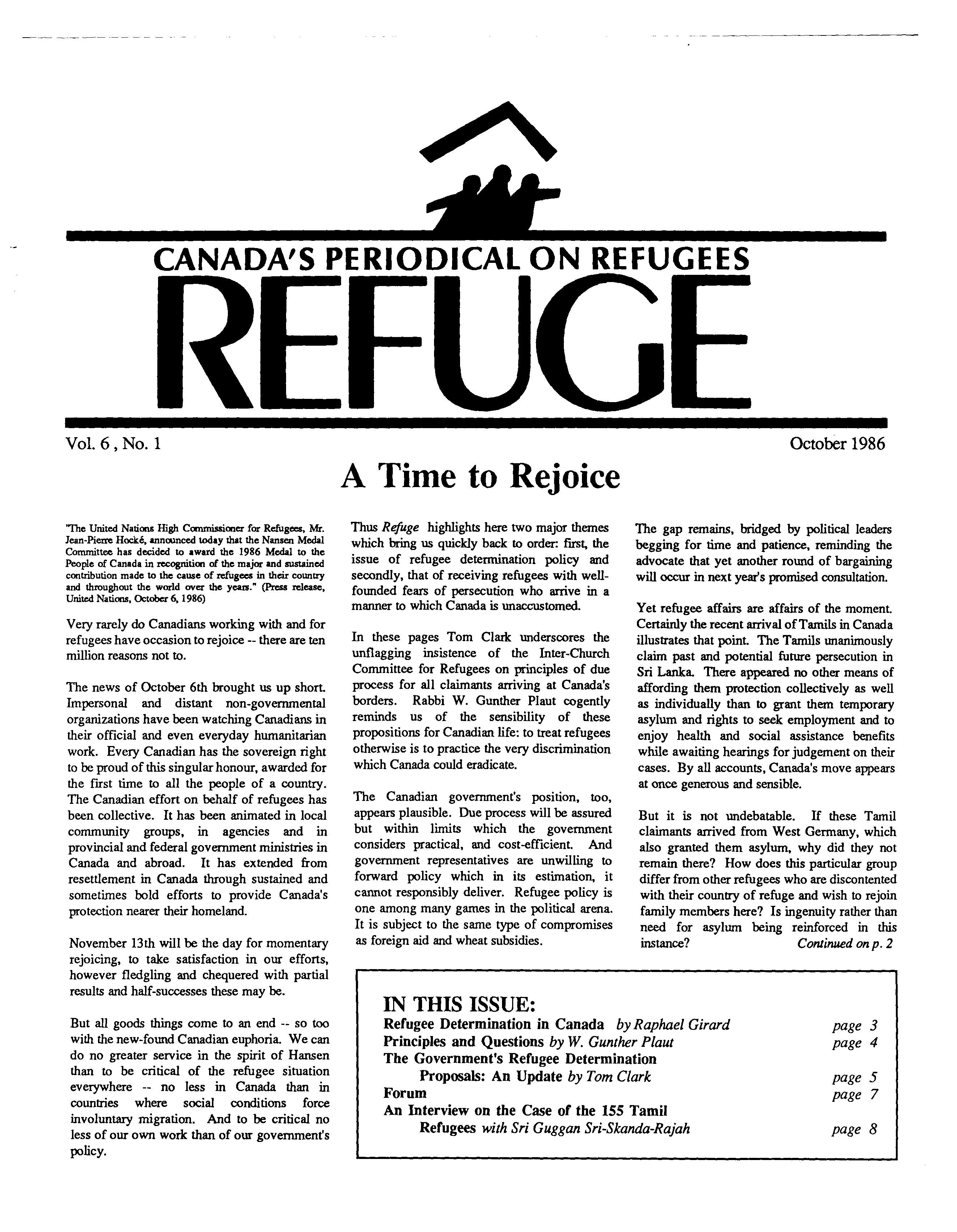 first page Refuge vol. 6.1 1986