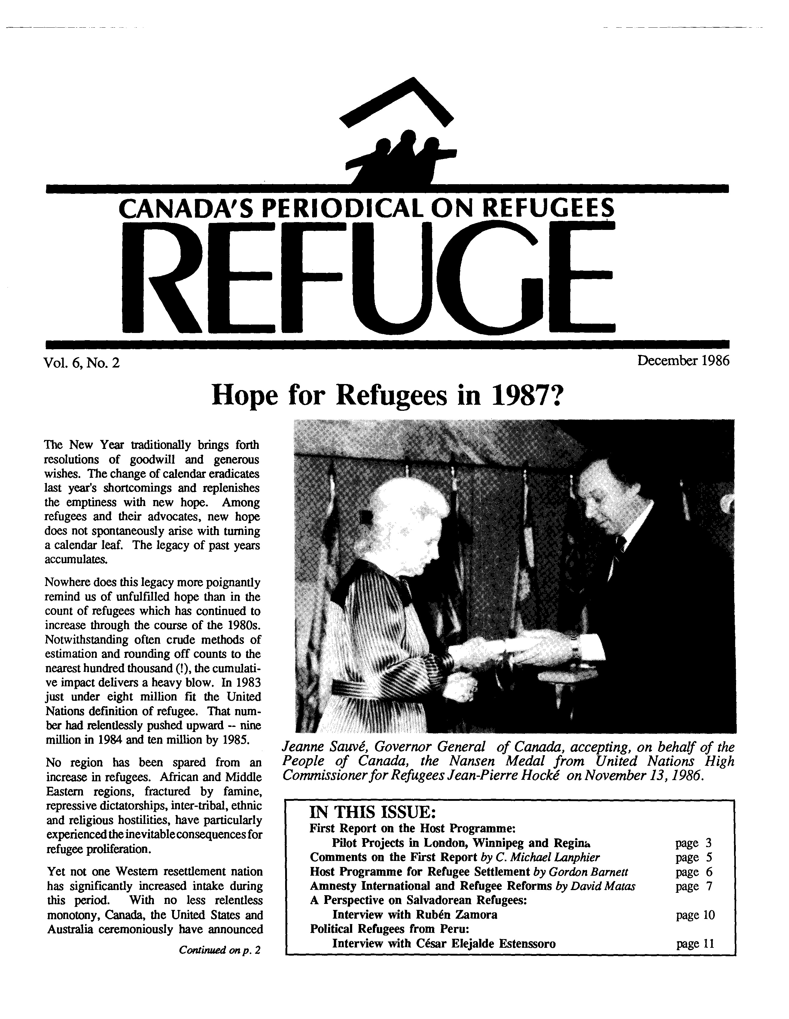 first page Refuge vol. 6.2 1986