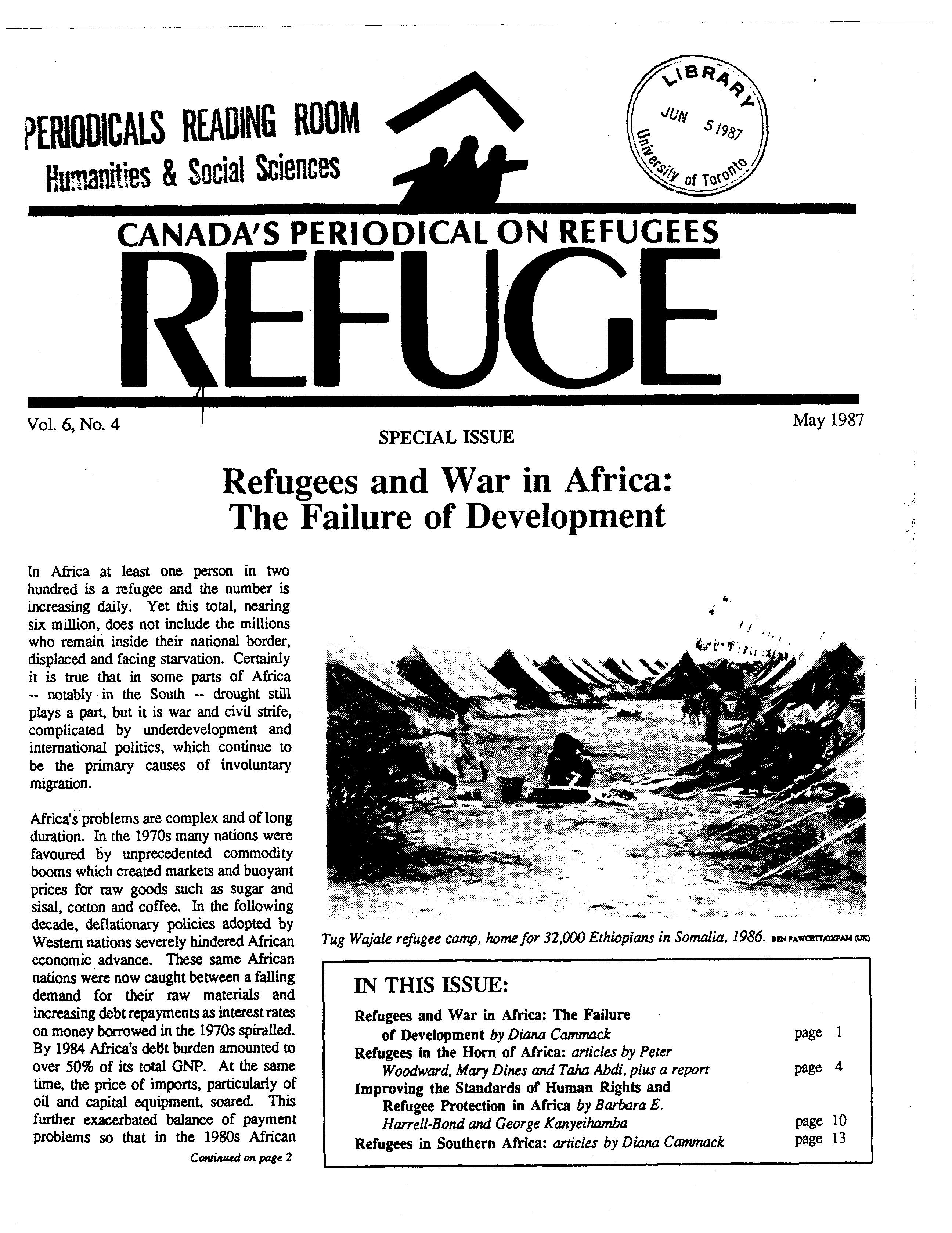 first page Refuge vol. 6.4 1987