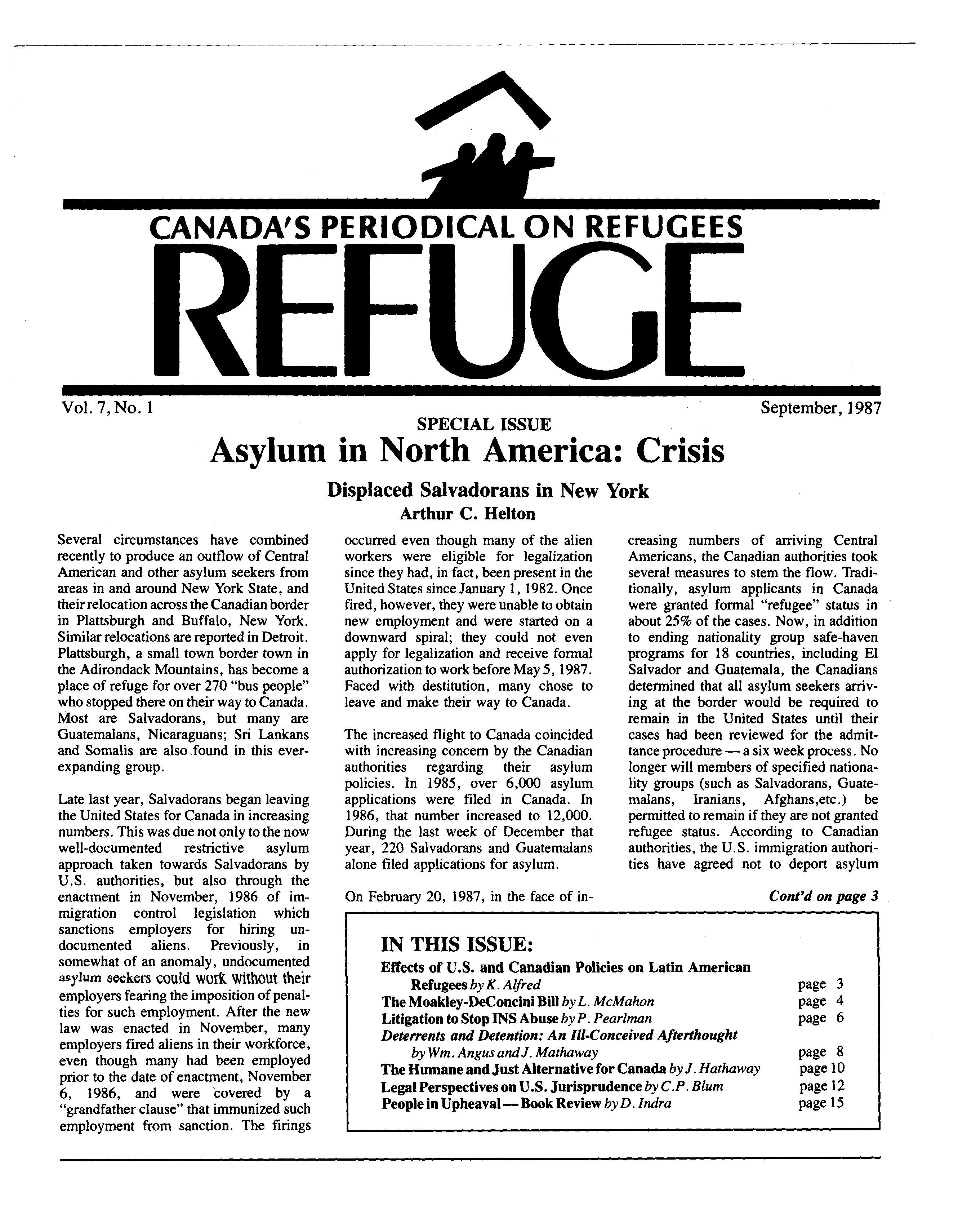 first page Refuge vol. 7.1 1987
