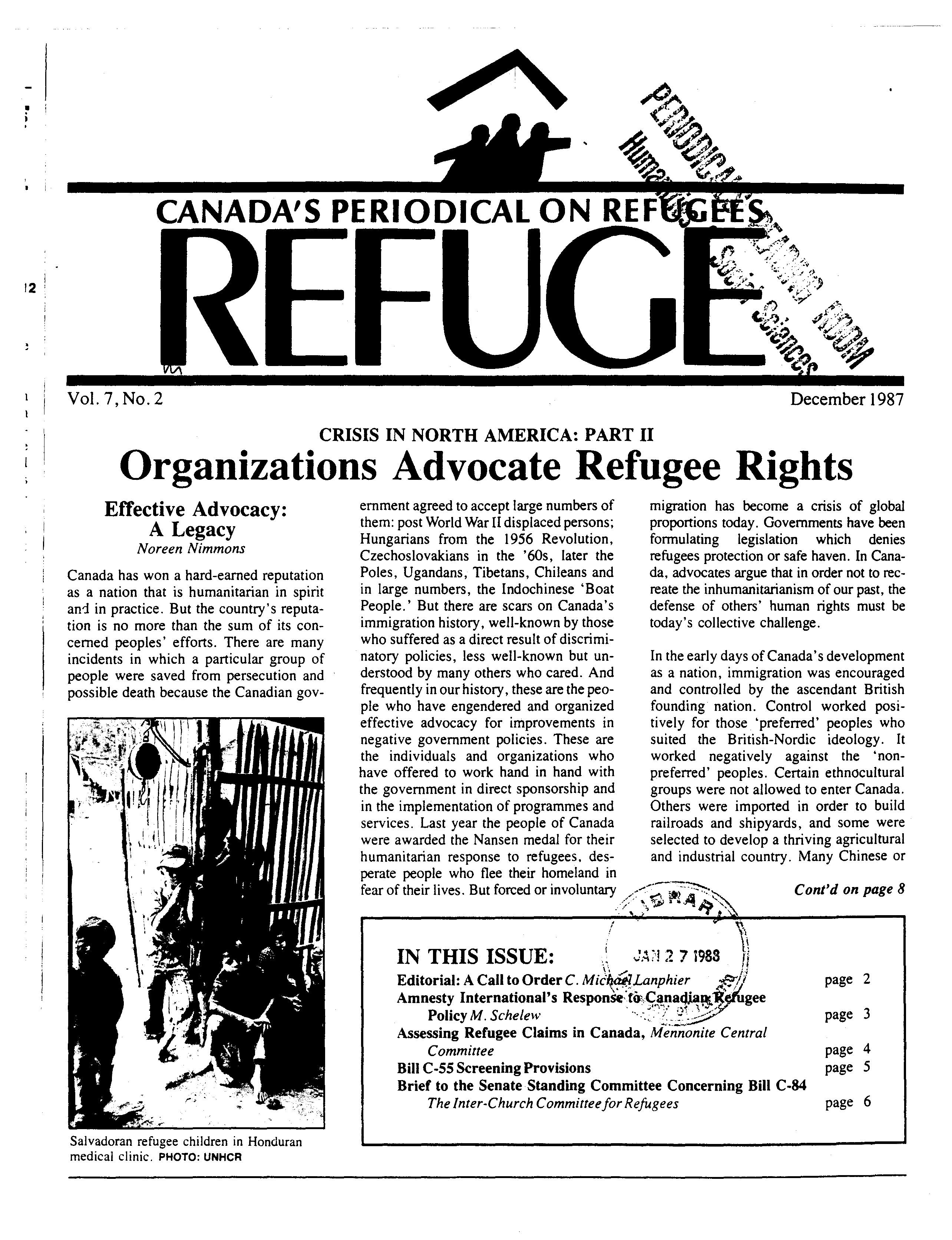 first page Refuge vol. 7.2 1987
