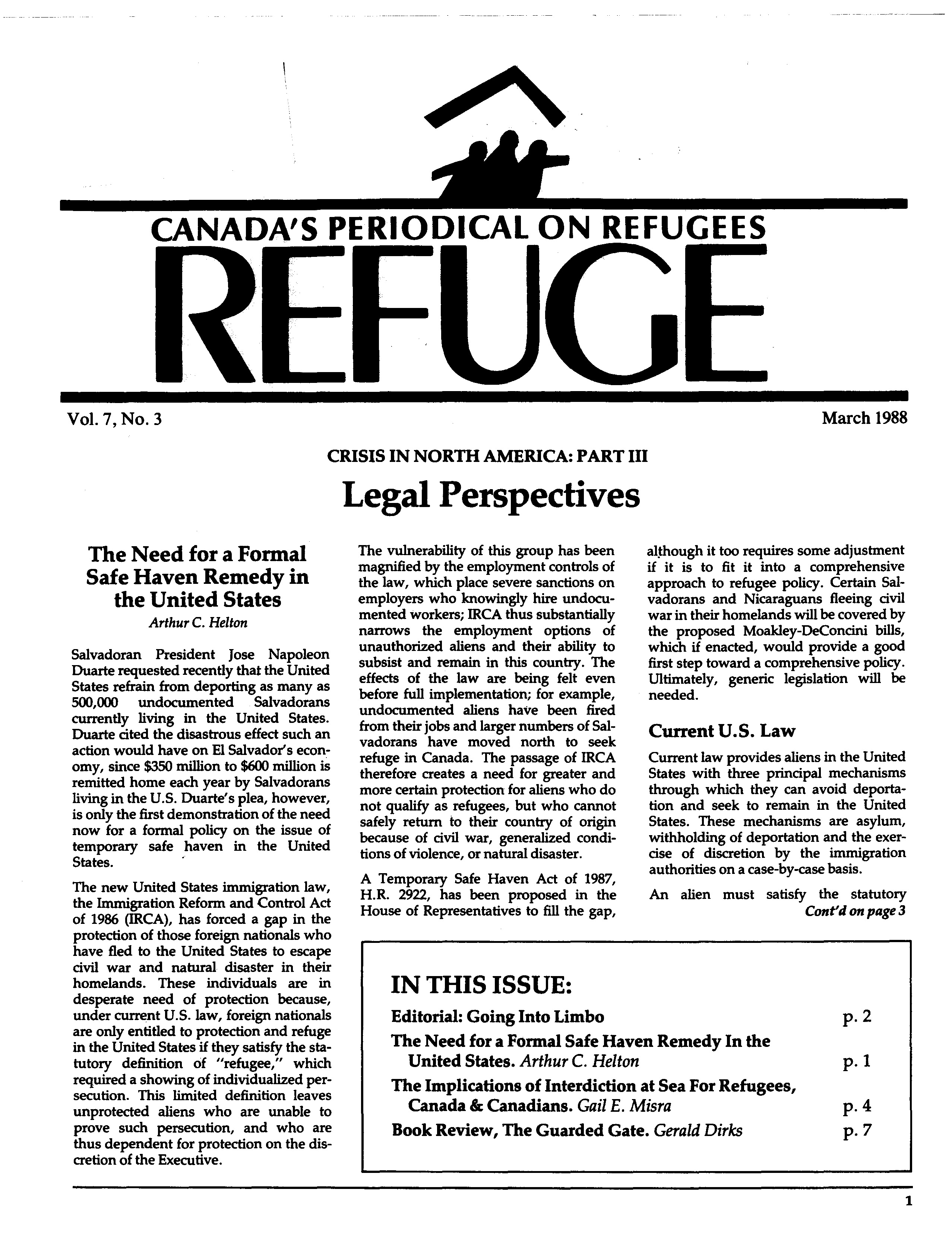 first page Refuge vol. 7.3 1988