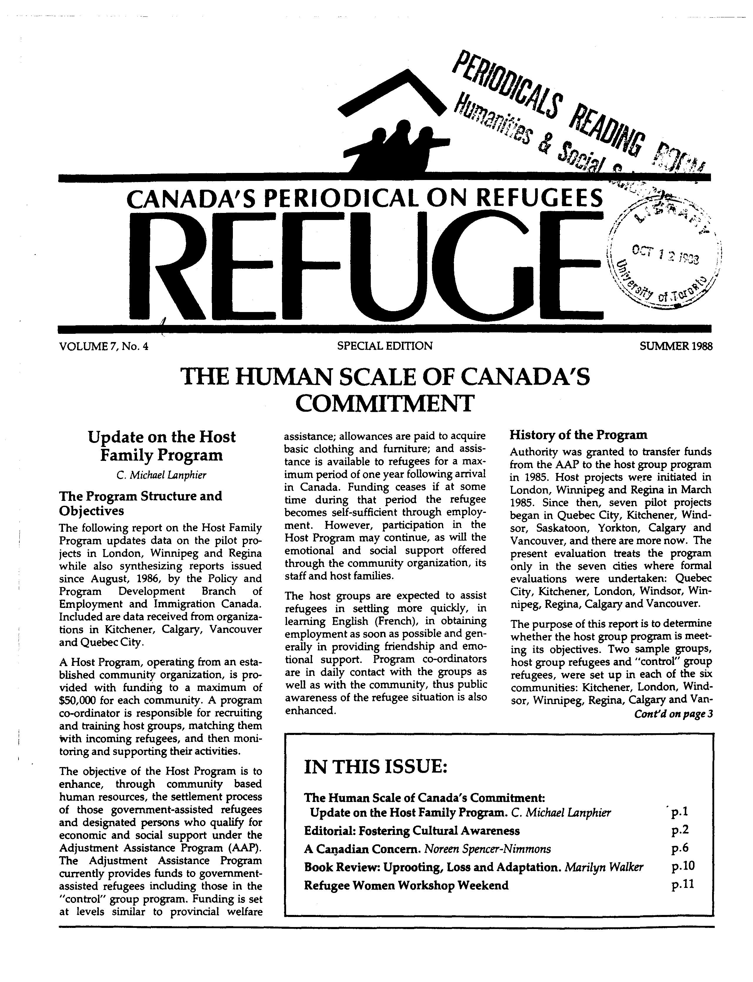 first page Refuge vol. 7.4 1988