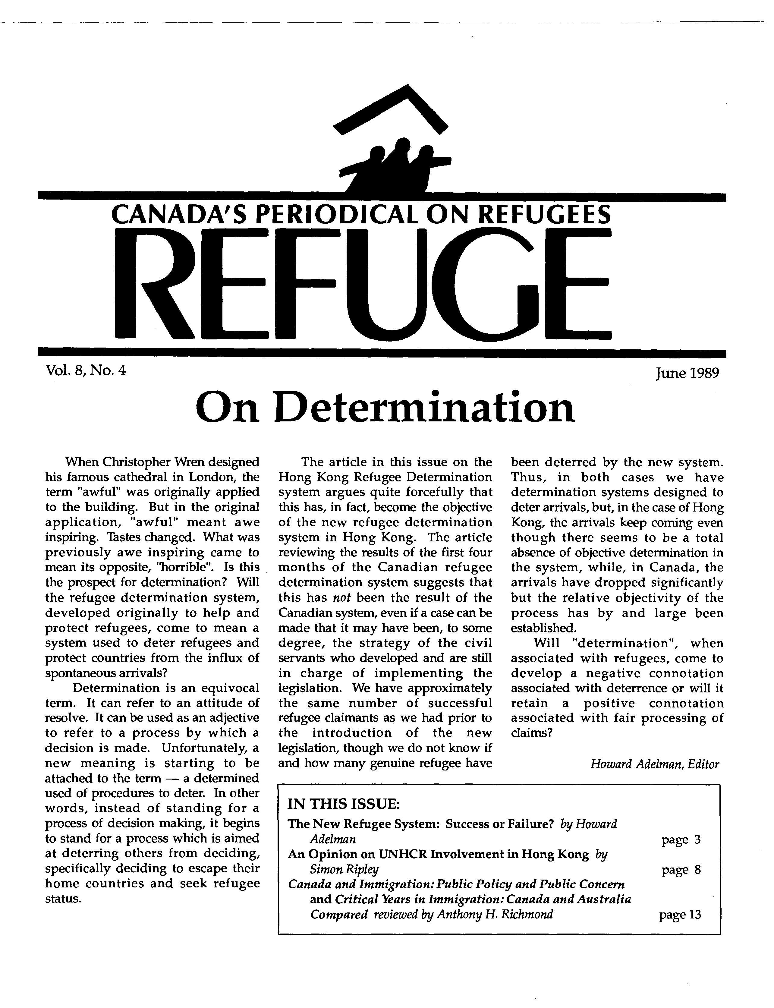 first page Refuge vol. 8.4 1989