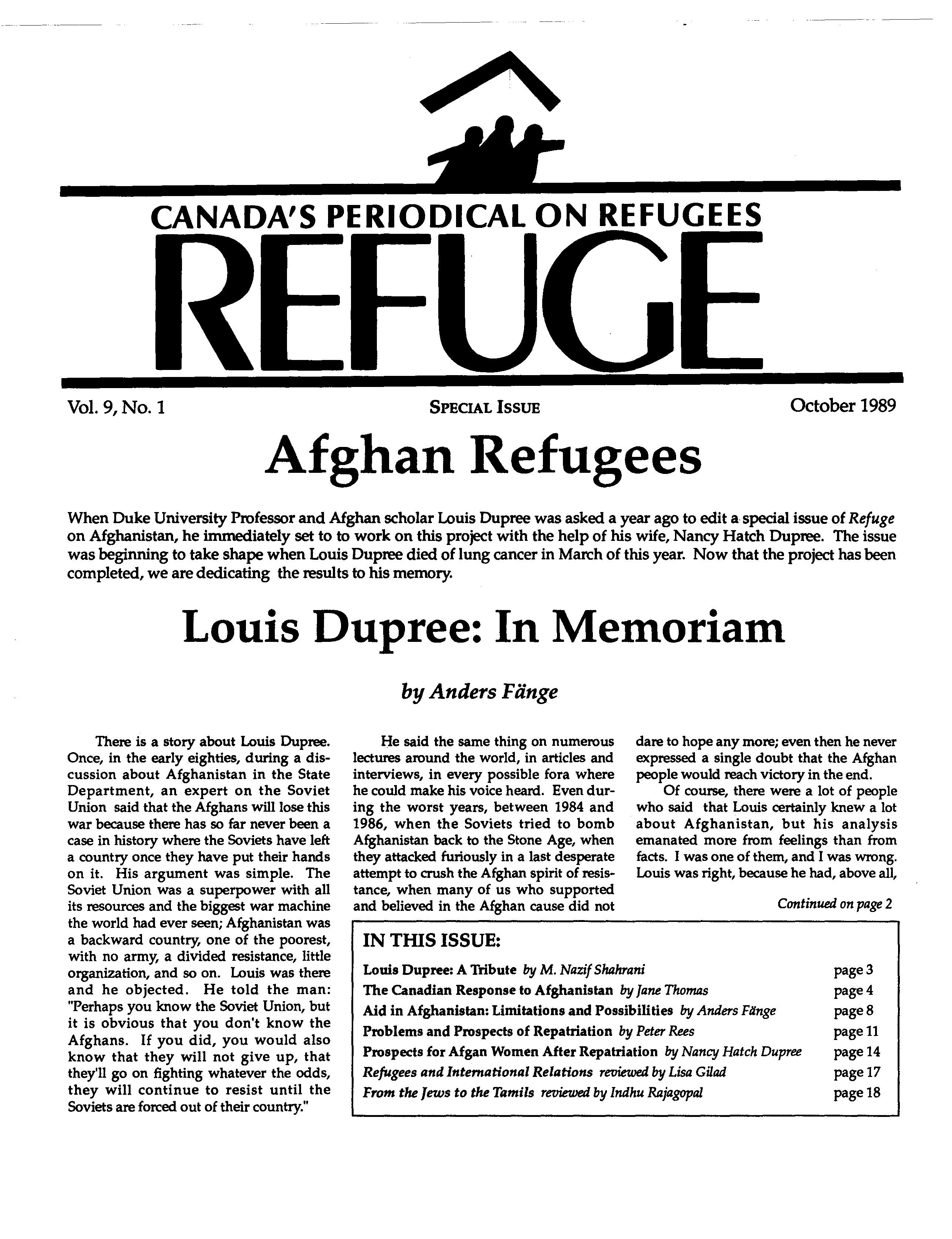 first page Refuge vol. 9.1 1989
