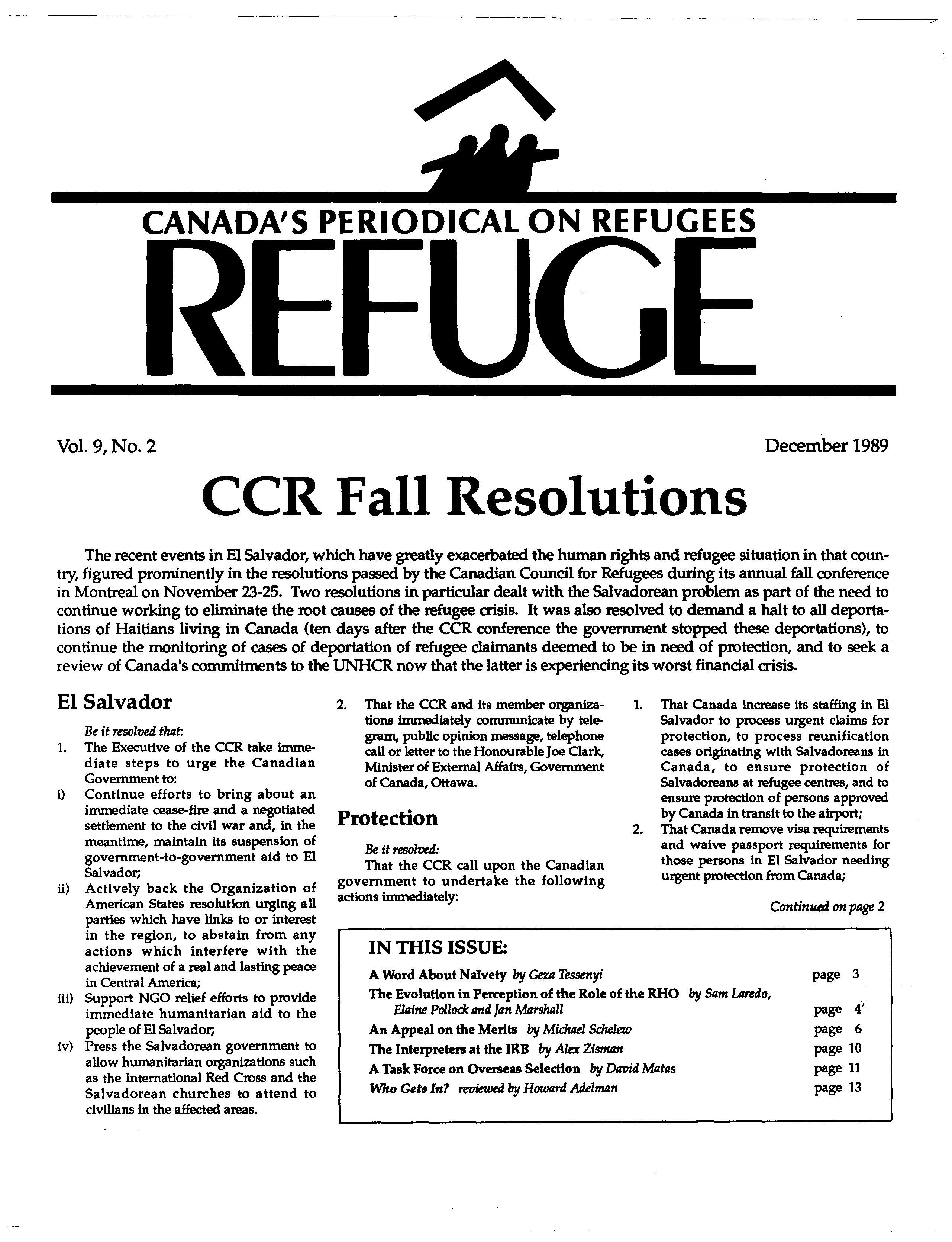 first page Refuge vol. 9.2 1989