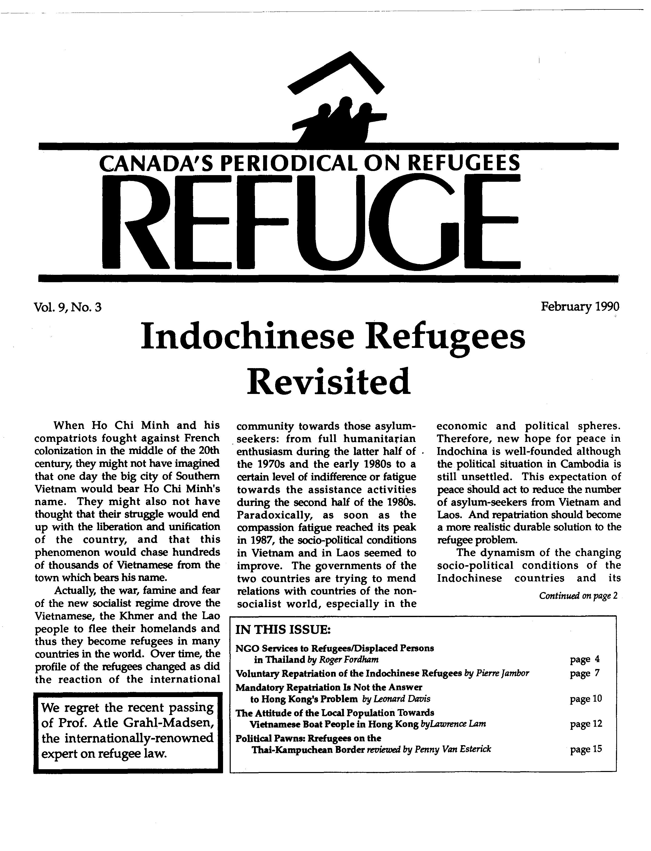 first page Refuge vol. 9.3 1990