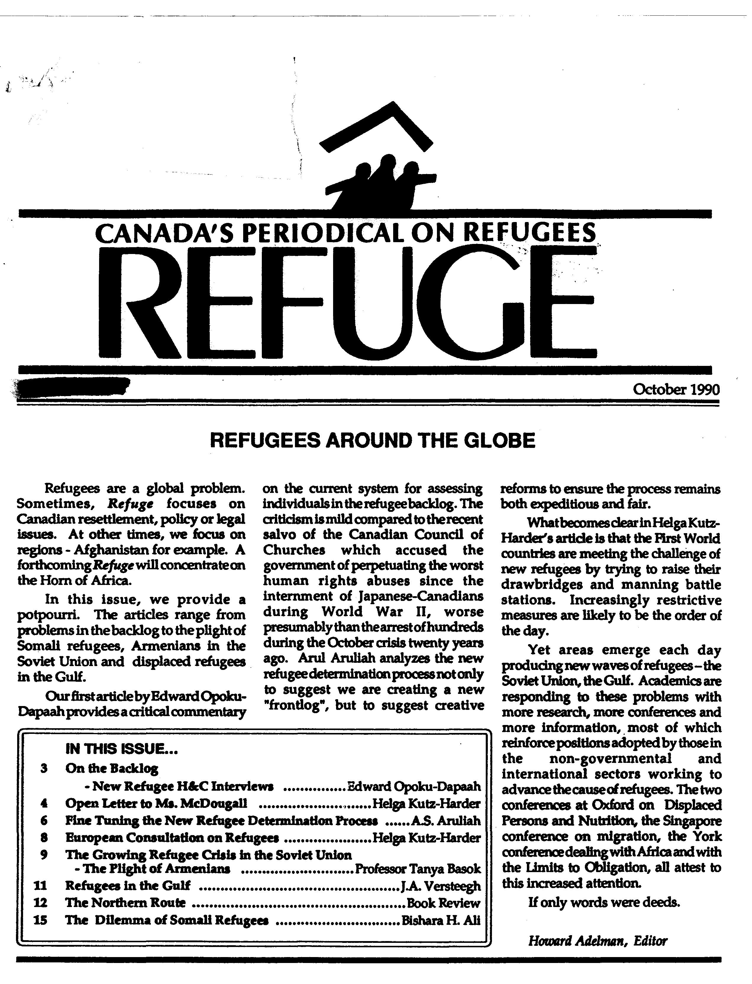 first page Refuge vol. 10.1 1990