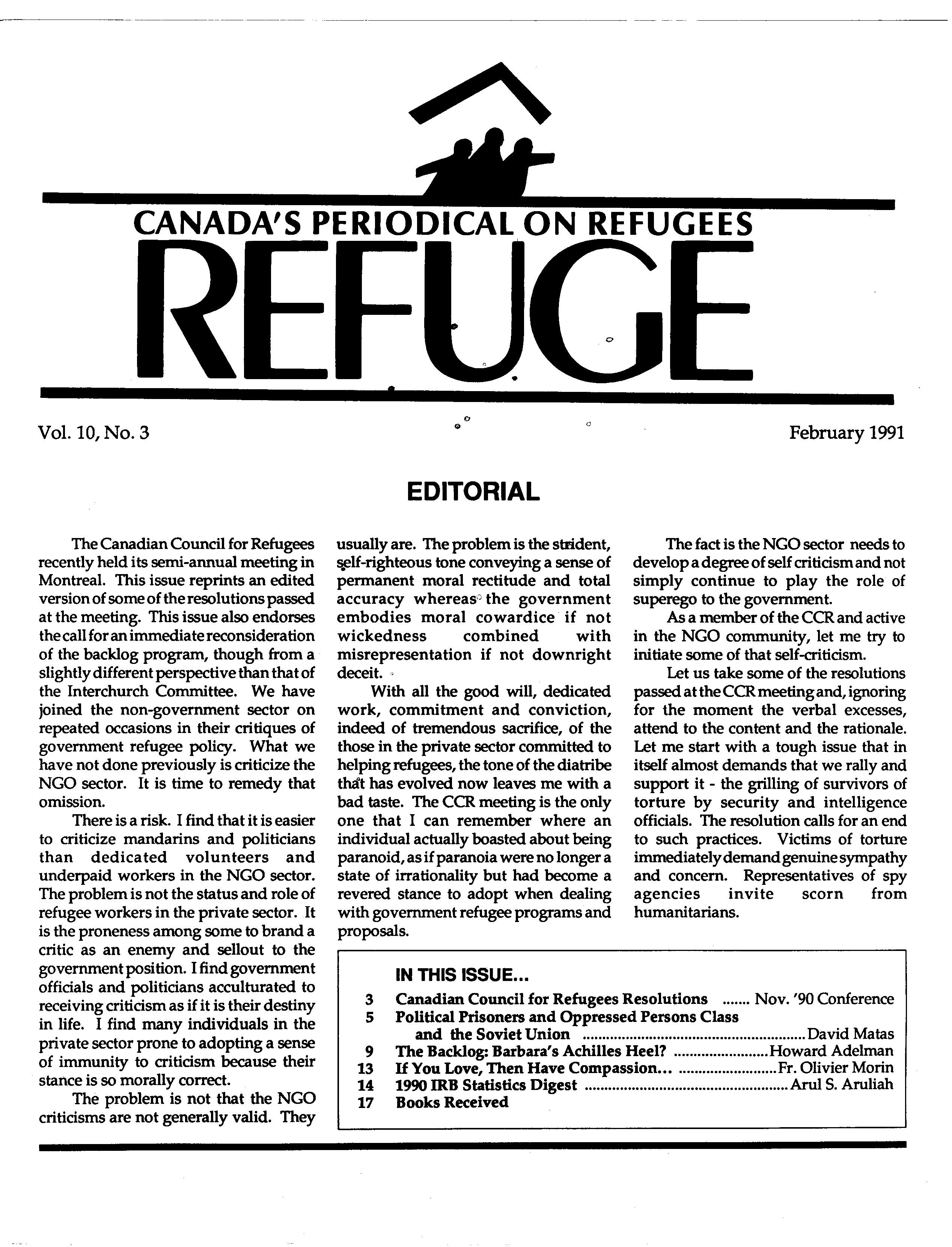 first page Refuge vol. 10.3 1991