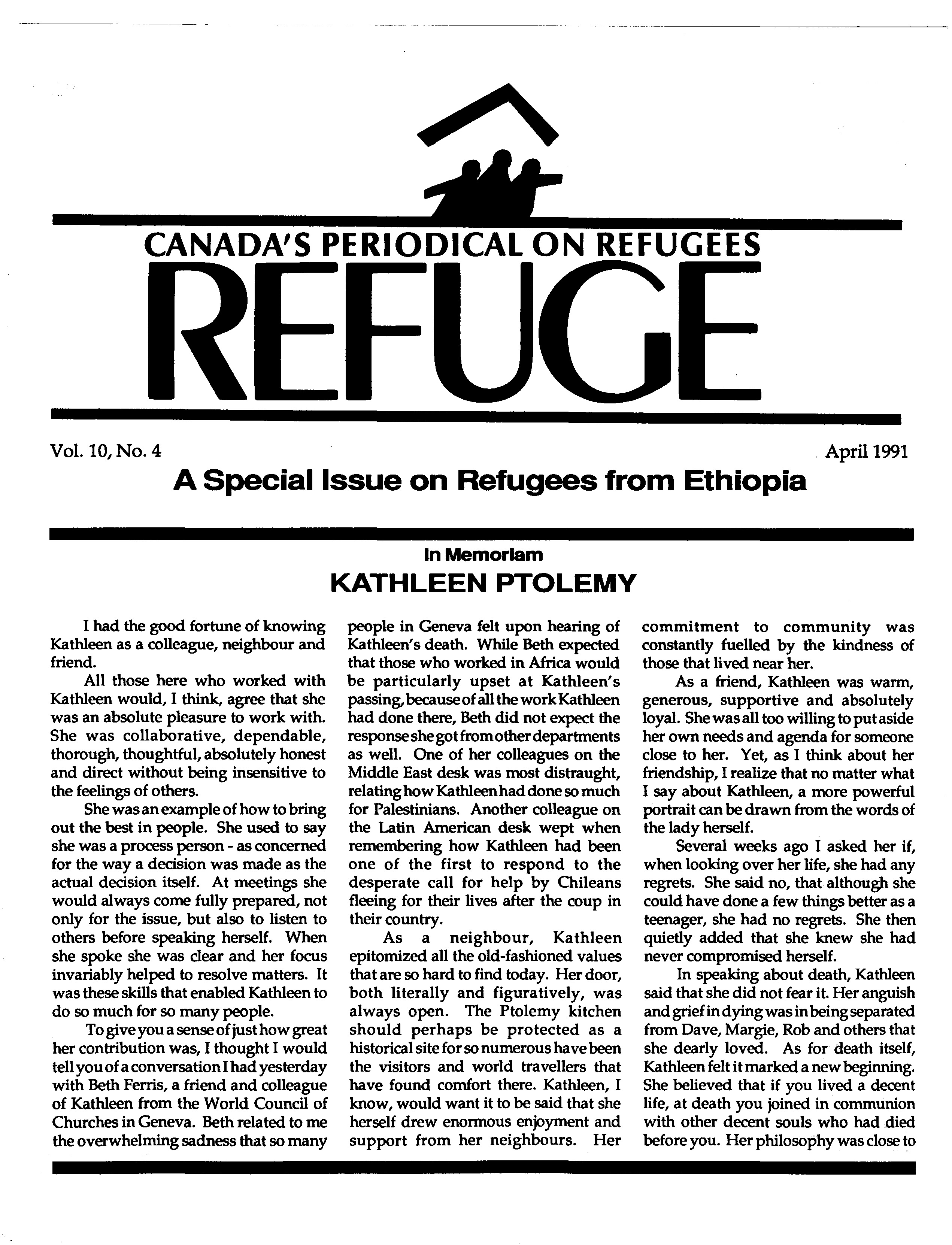 first page Refuge vol. 10.4 1991