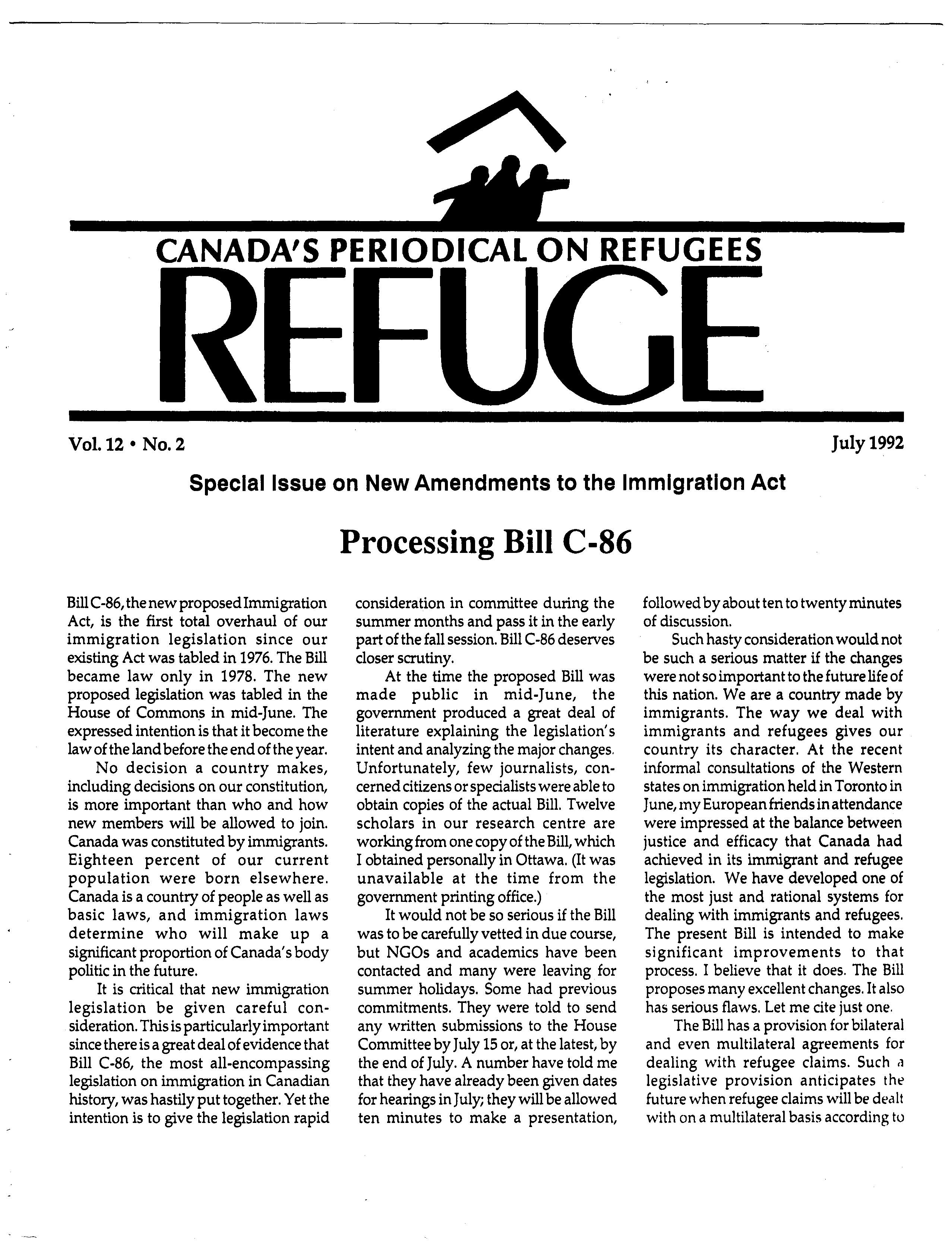 first page Refuge vol. 12.2 1992