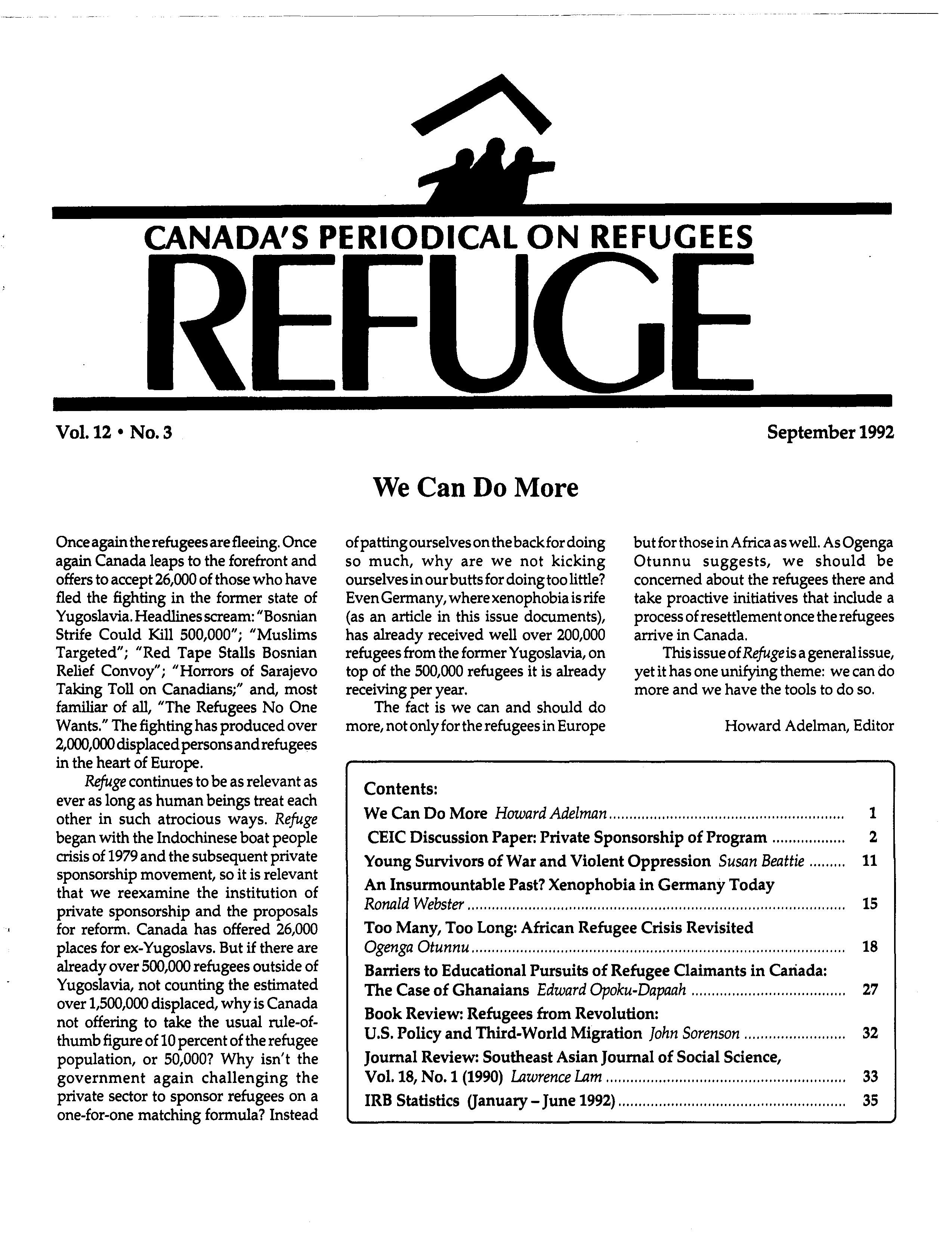 first page Refuge vol. 12.3 1992