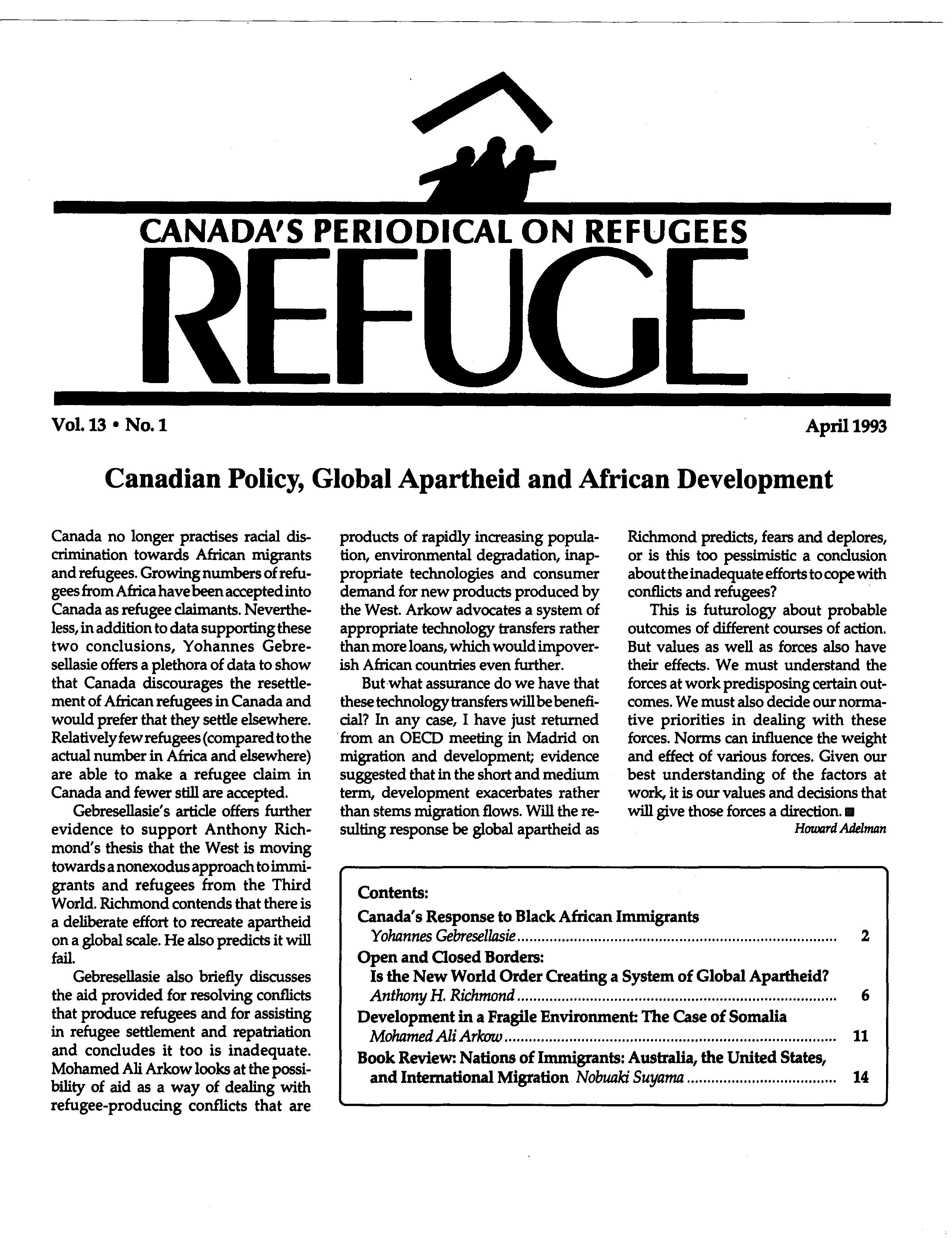 first page Refuge vol. 13.1 1993