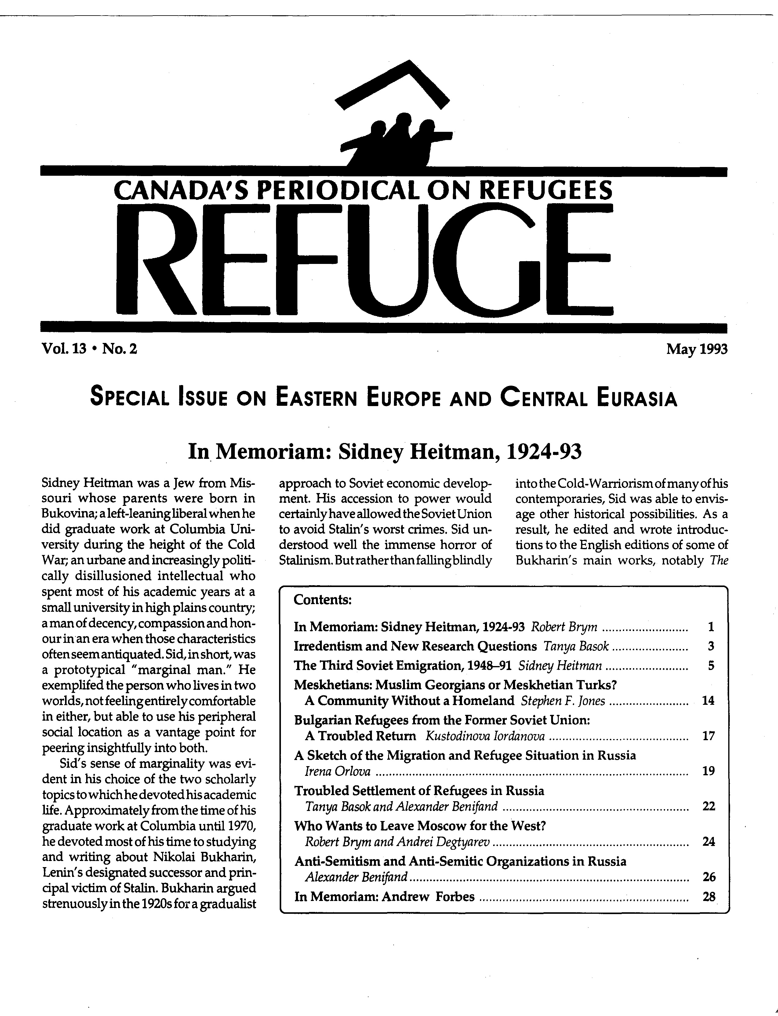 first page Refuge vol. 13.2 1993