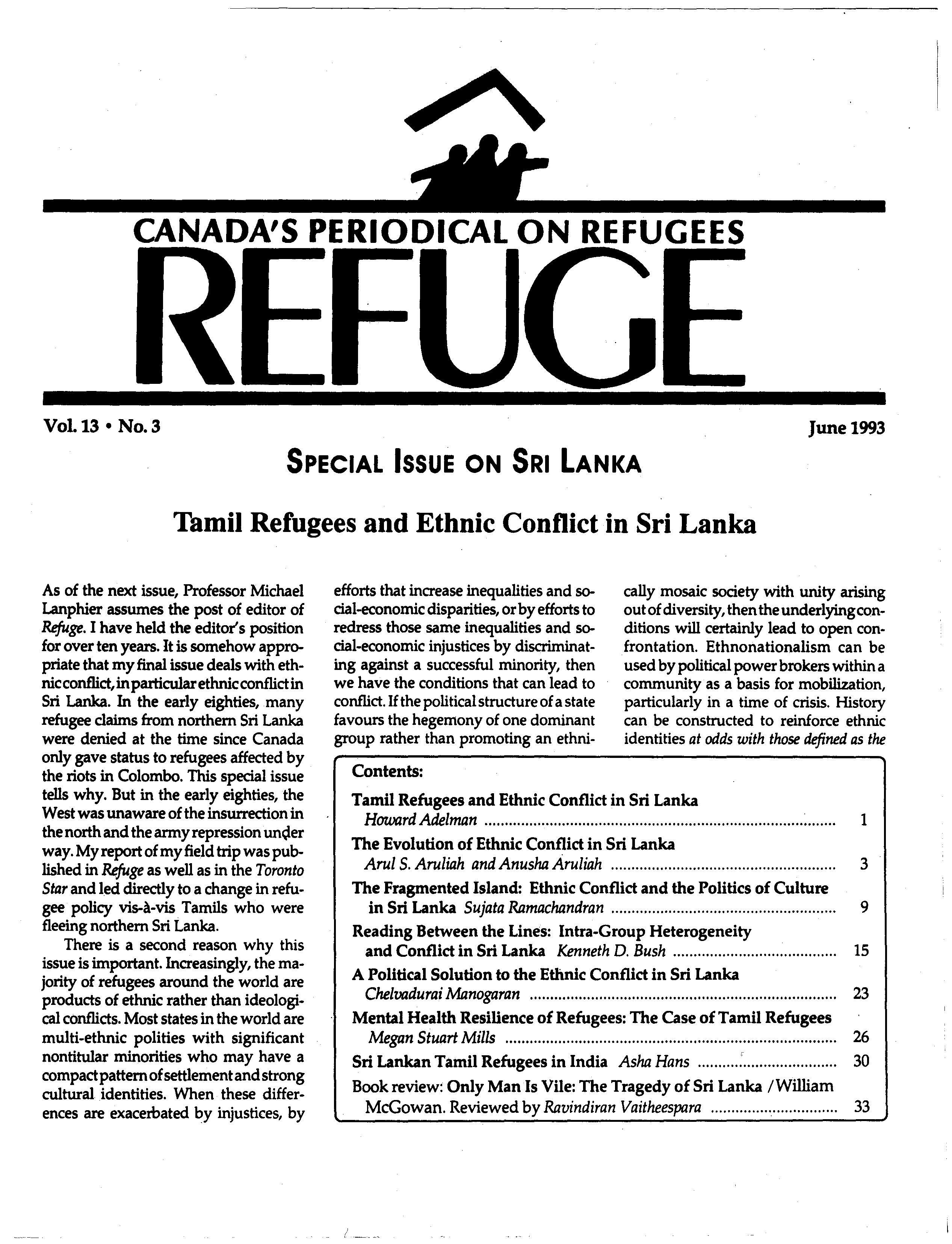 first page Refuge vol. 13.3 1993