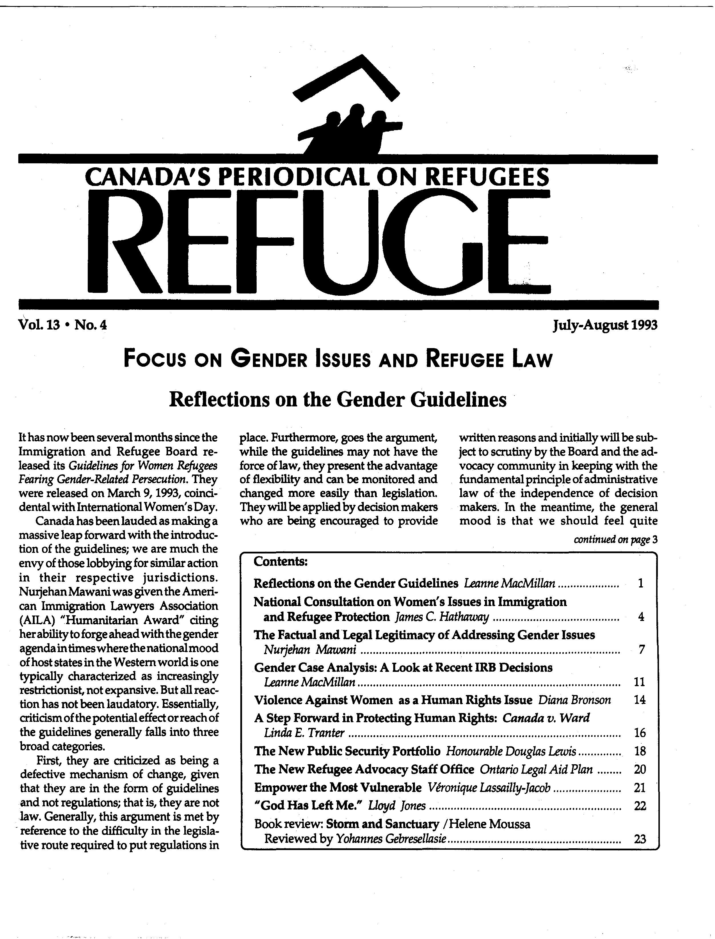 first page Refuge vol. 13.4 1993