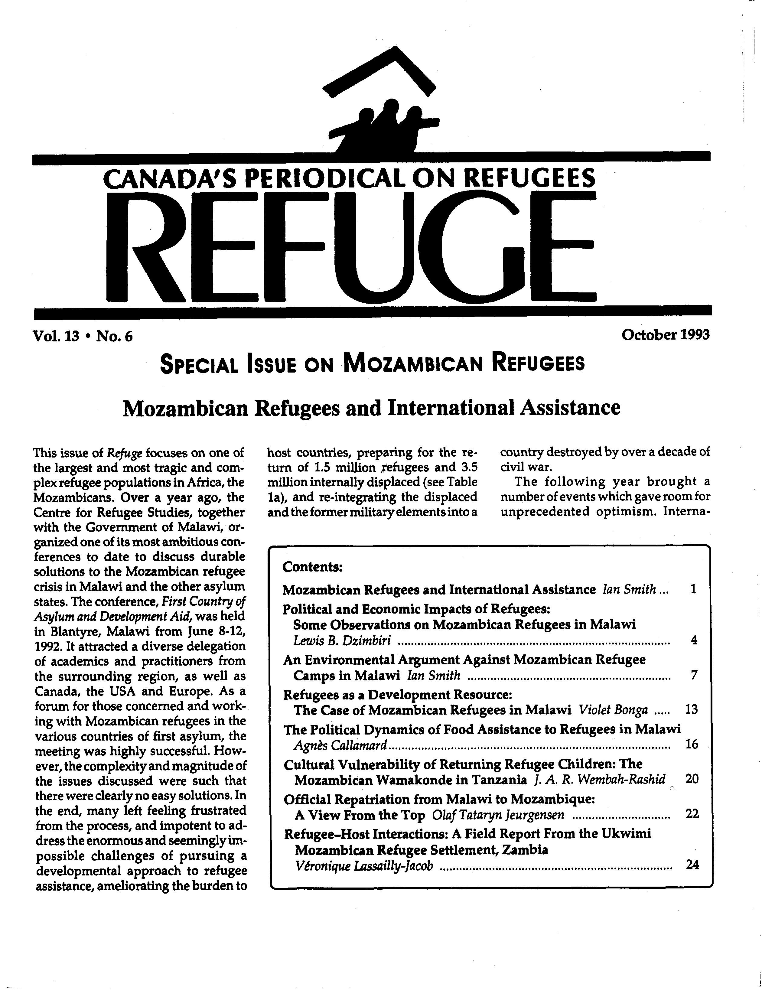 first page Refuge vol. 13.6 1993