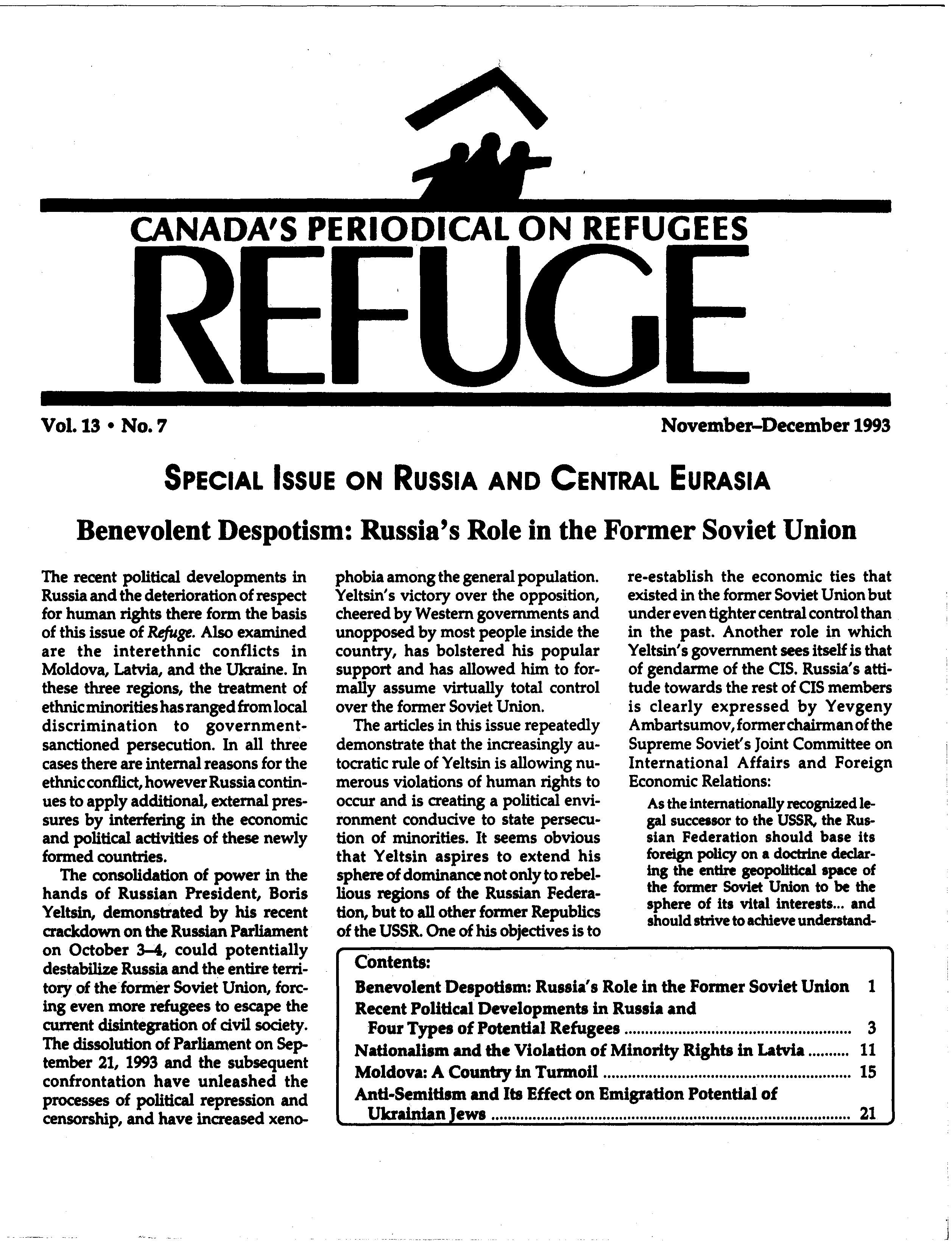 first page Refuge vol. 13.7 1993