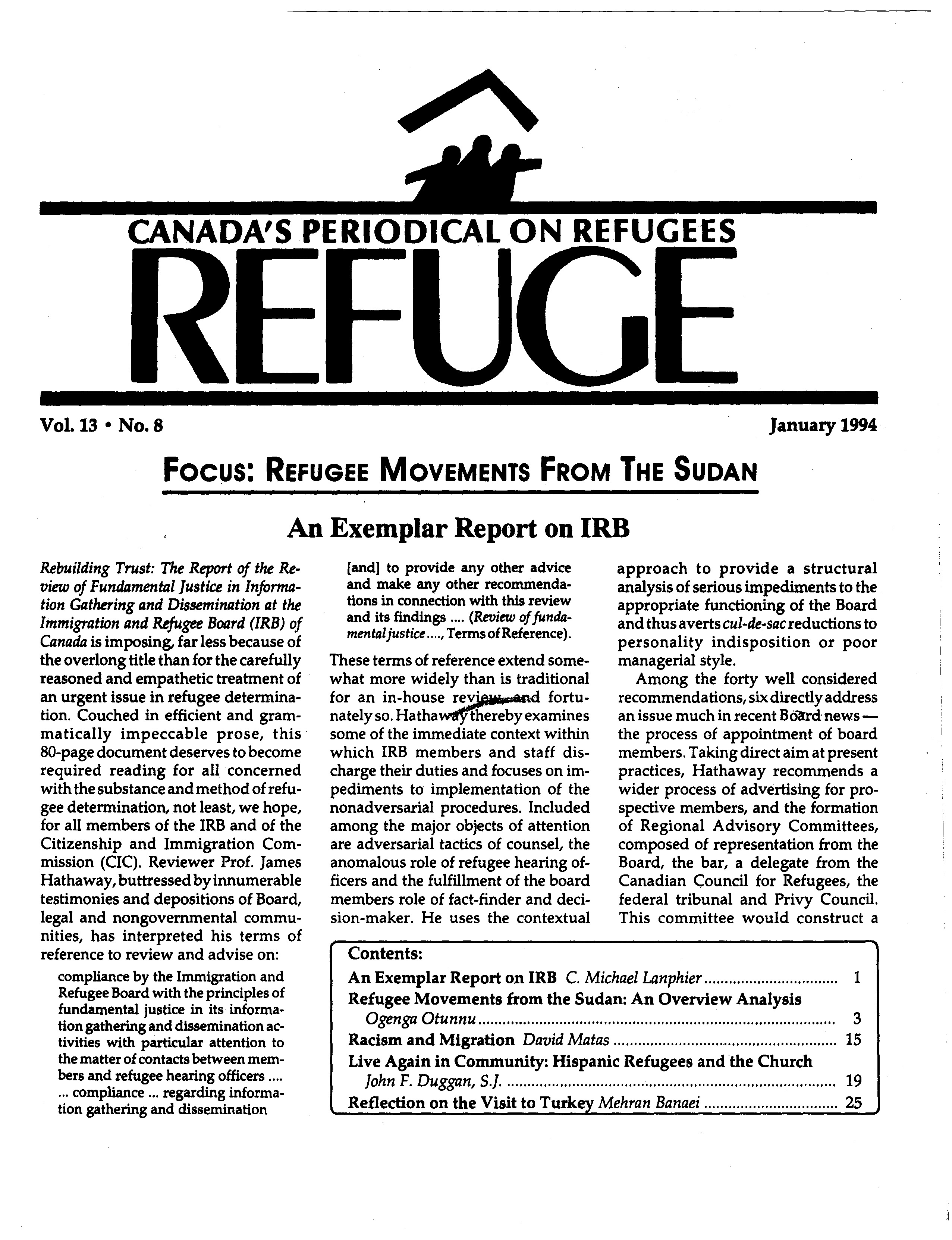 first page Refuge vol. 13.8 1994