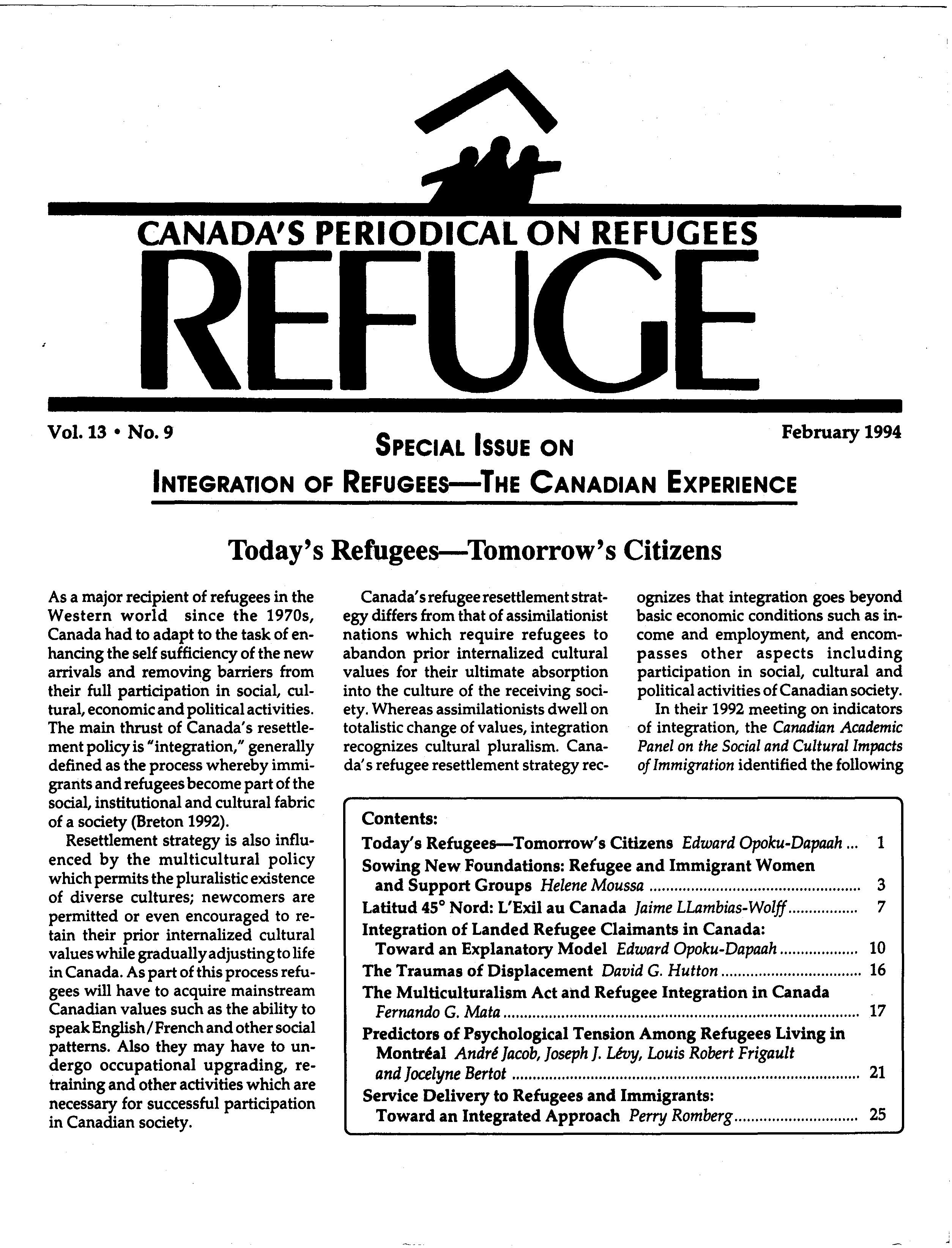 first page Refuge vol. 13.9 1994