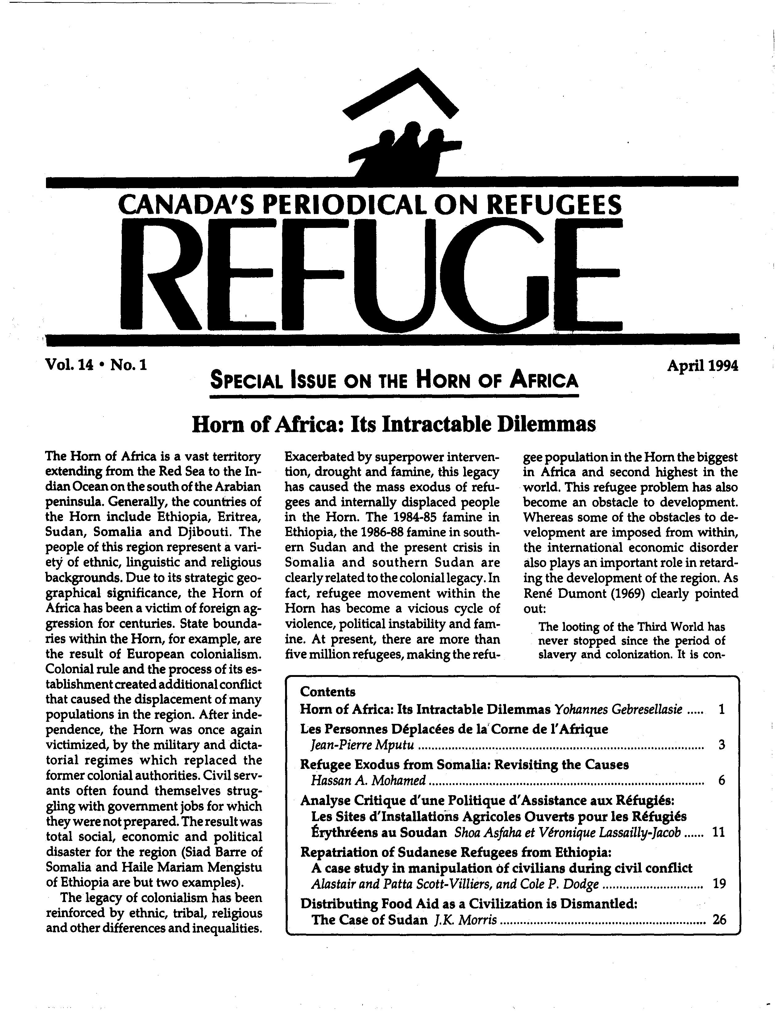 first page Refuge vol. 14.1 1994