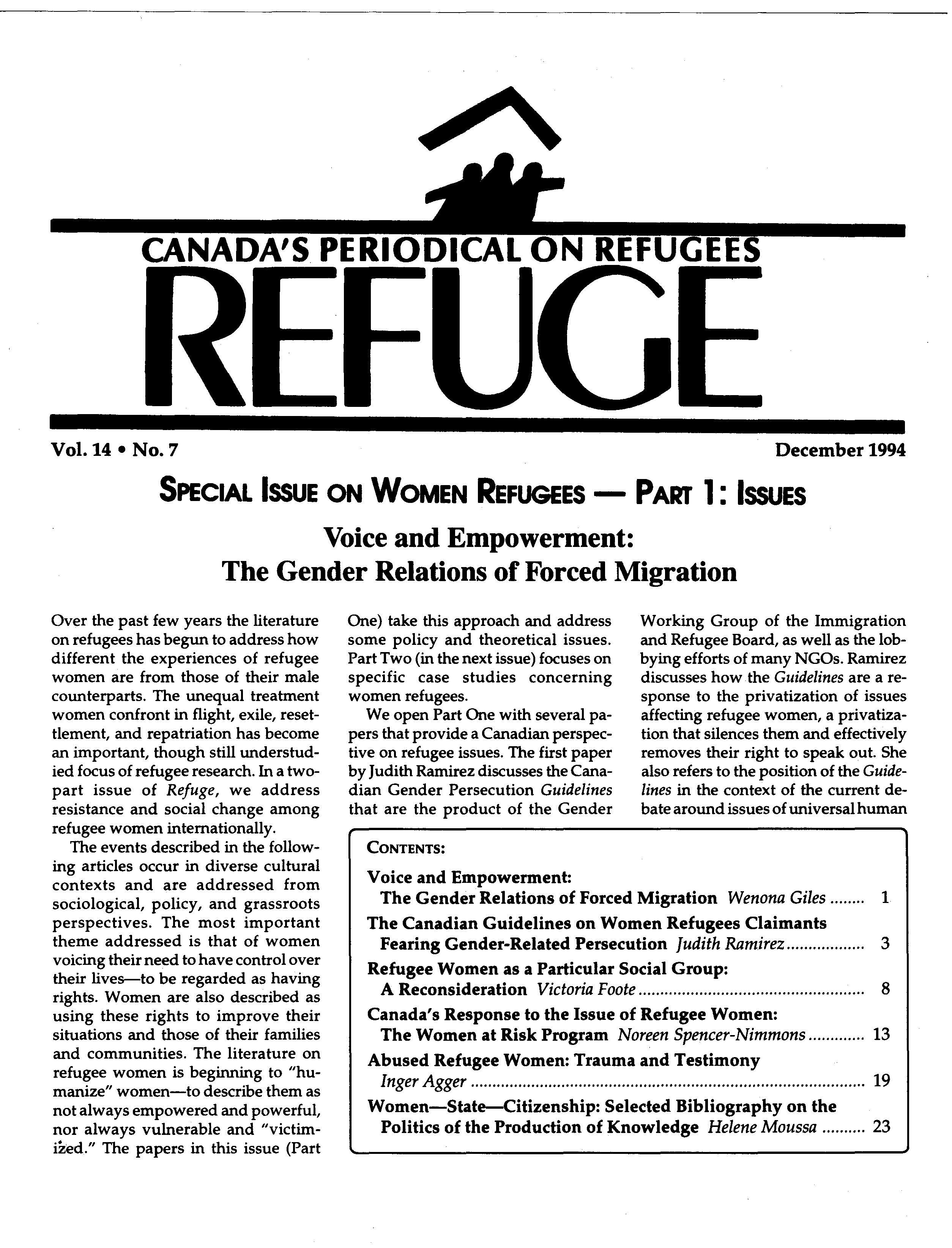 first page Refuge vol. 14.7 1994