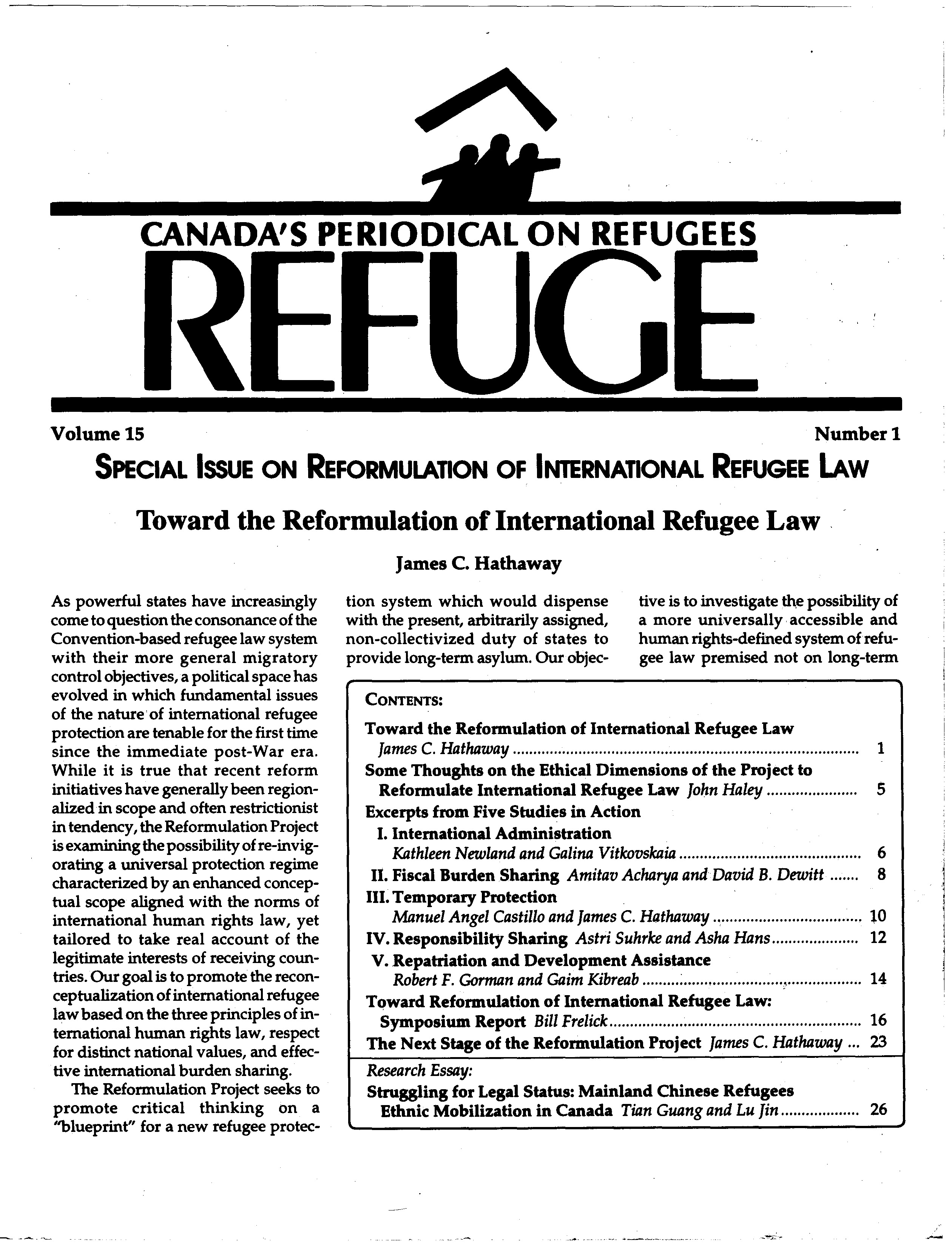 first page Refuge vol. 15.1 1996