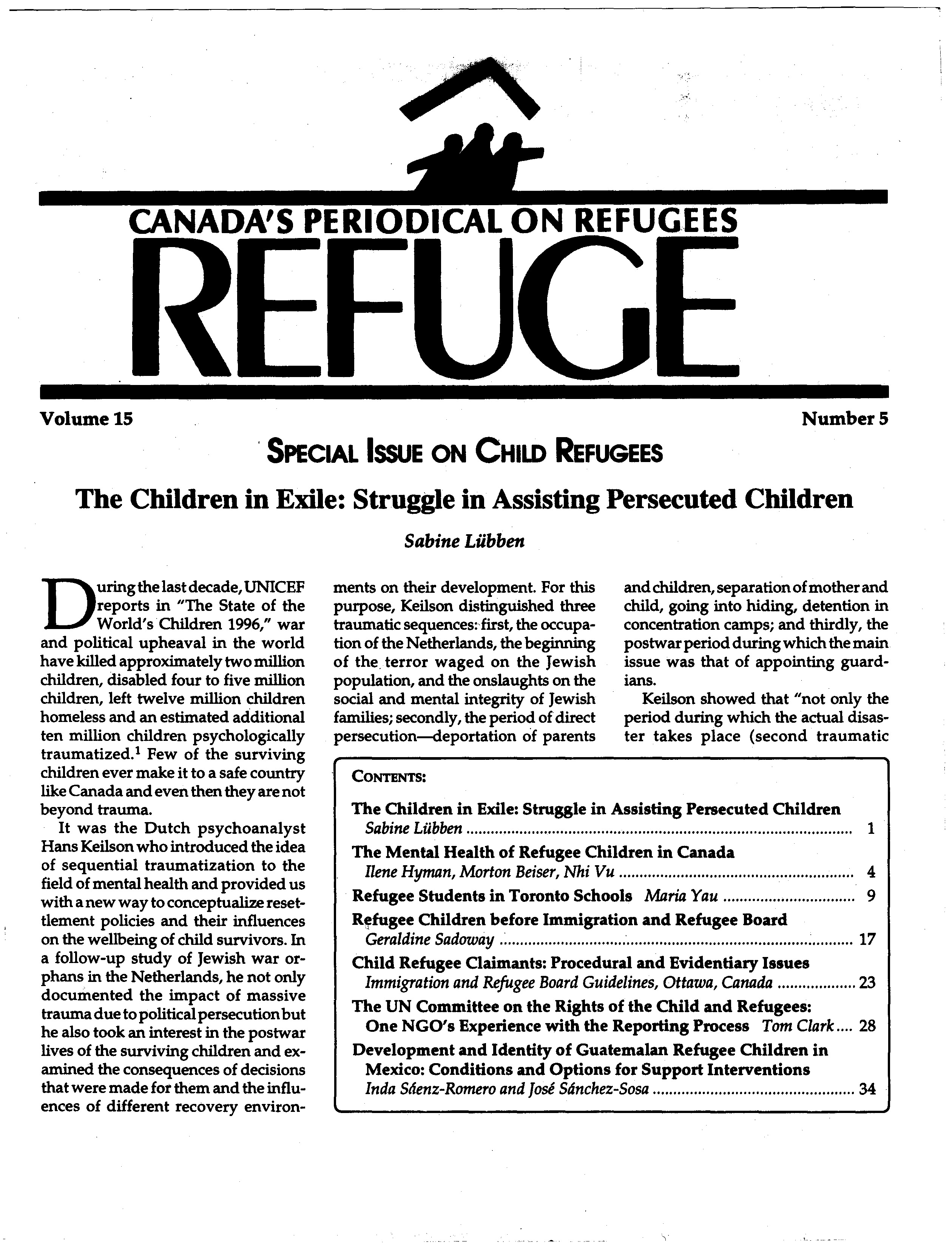 first page Refuge vol. 15.5 1996