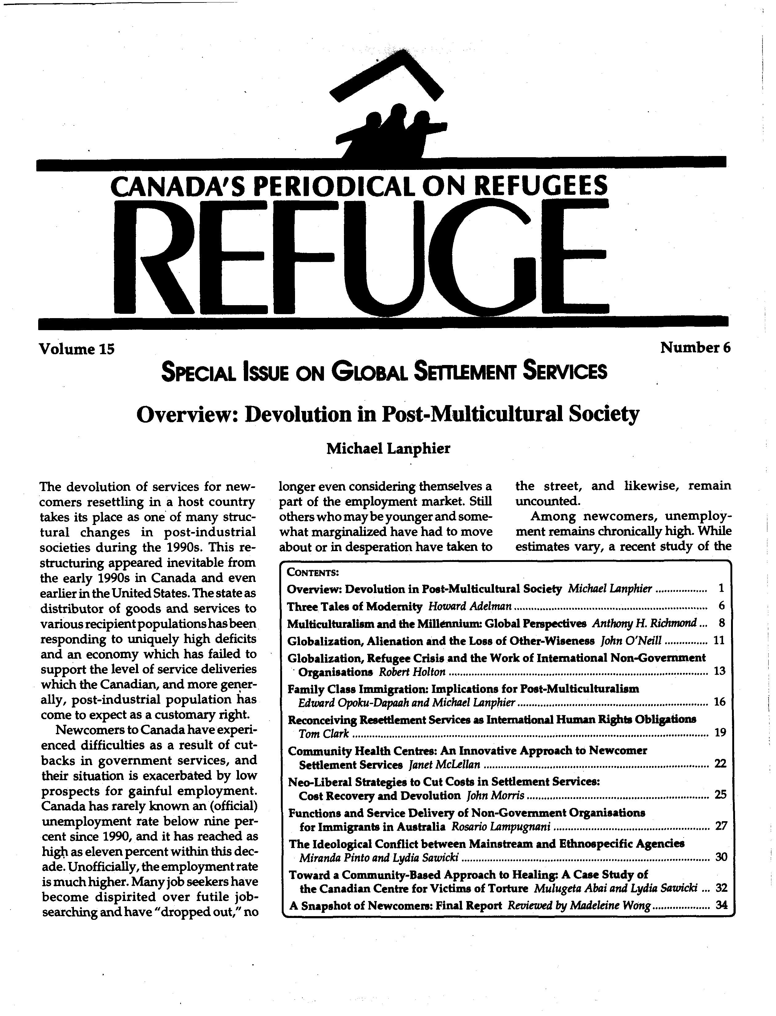 first page Refuge vol. 15.6 1997