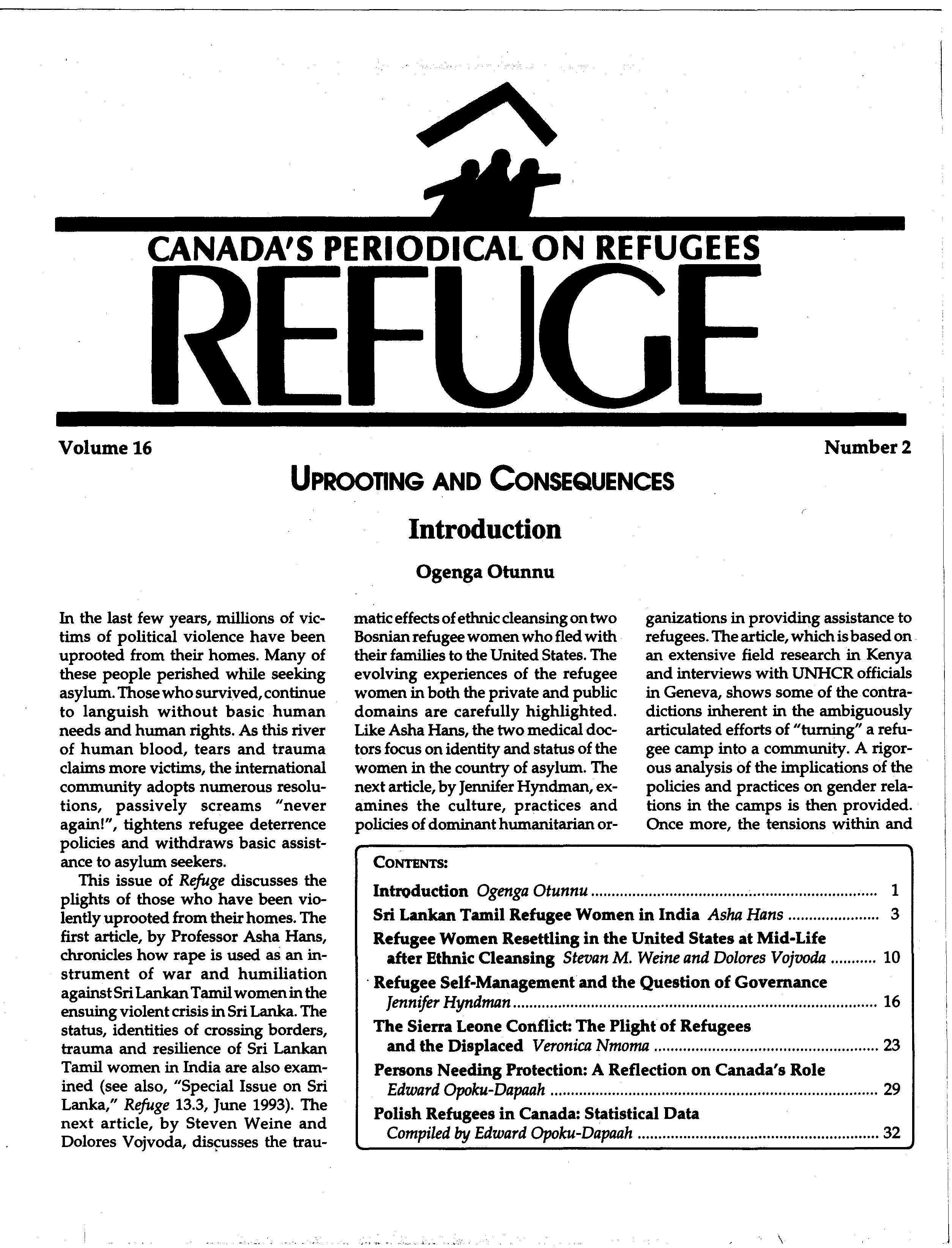 first page Refuge vol. 16.2 1997